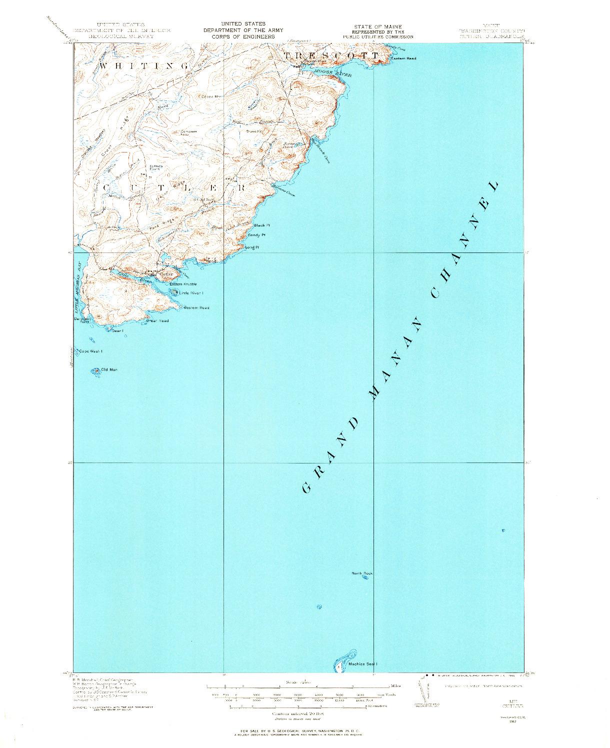 USGS 1:62500-SCALE QUADRANGLE FOR CUTLER, ME 1917