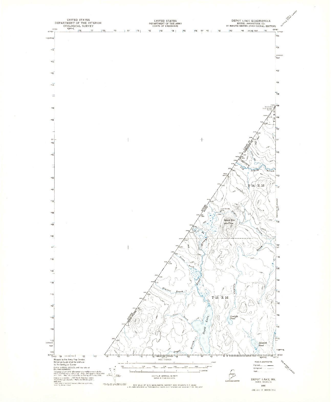 USGS 1:62500-SCALE QUADRANGLE FOR DEPOT LAKE, ME 1955