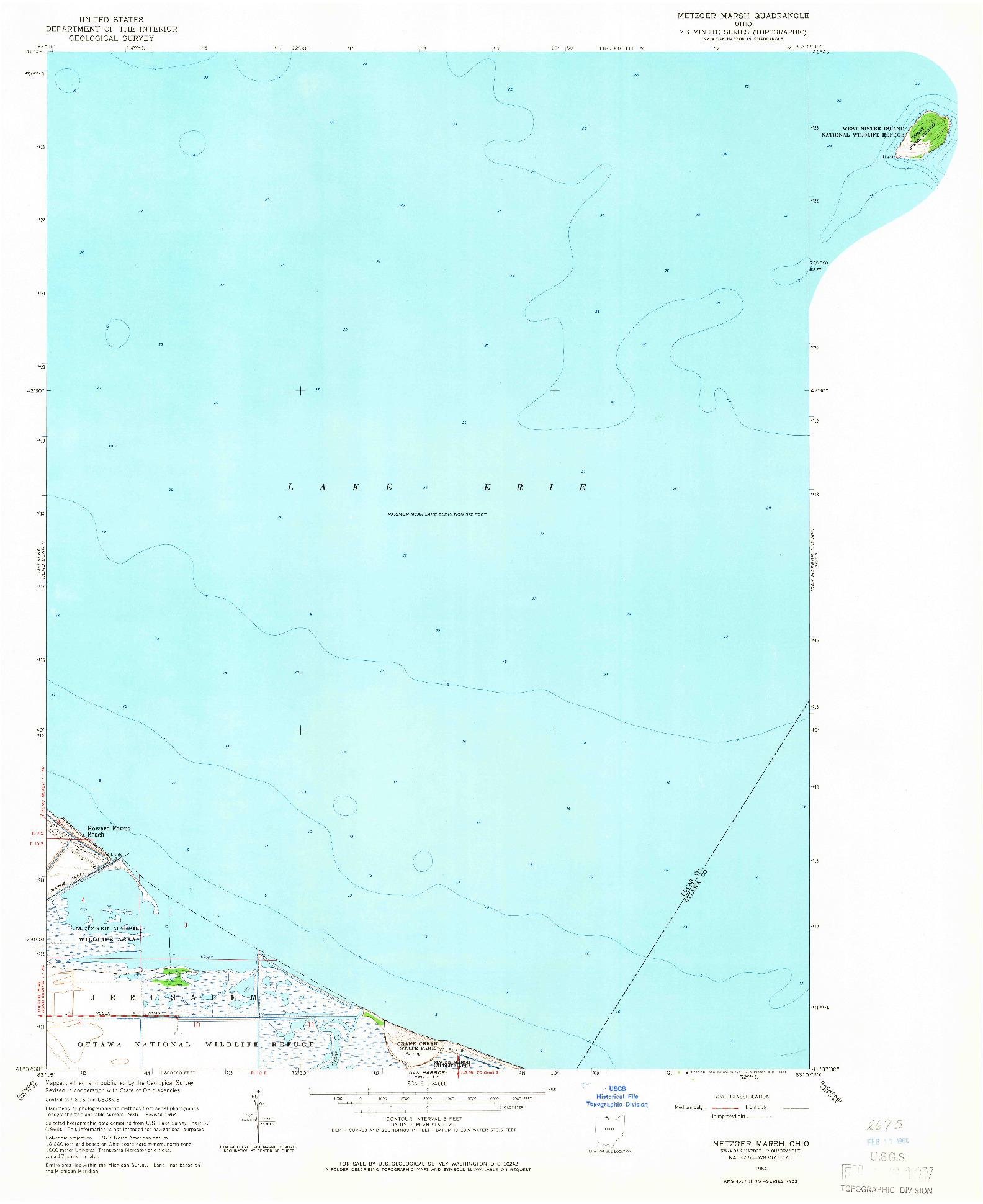 USGS 1:24000-SCALE QUADRANGLE FOR METZGER MARSH, OH 1964