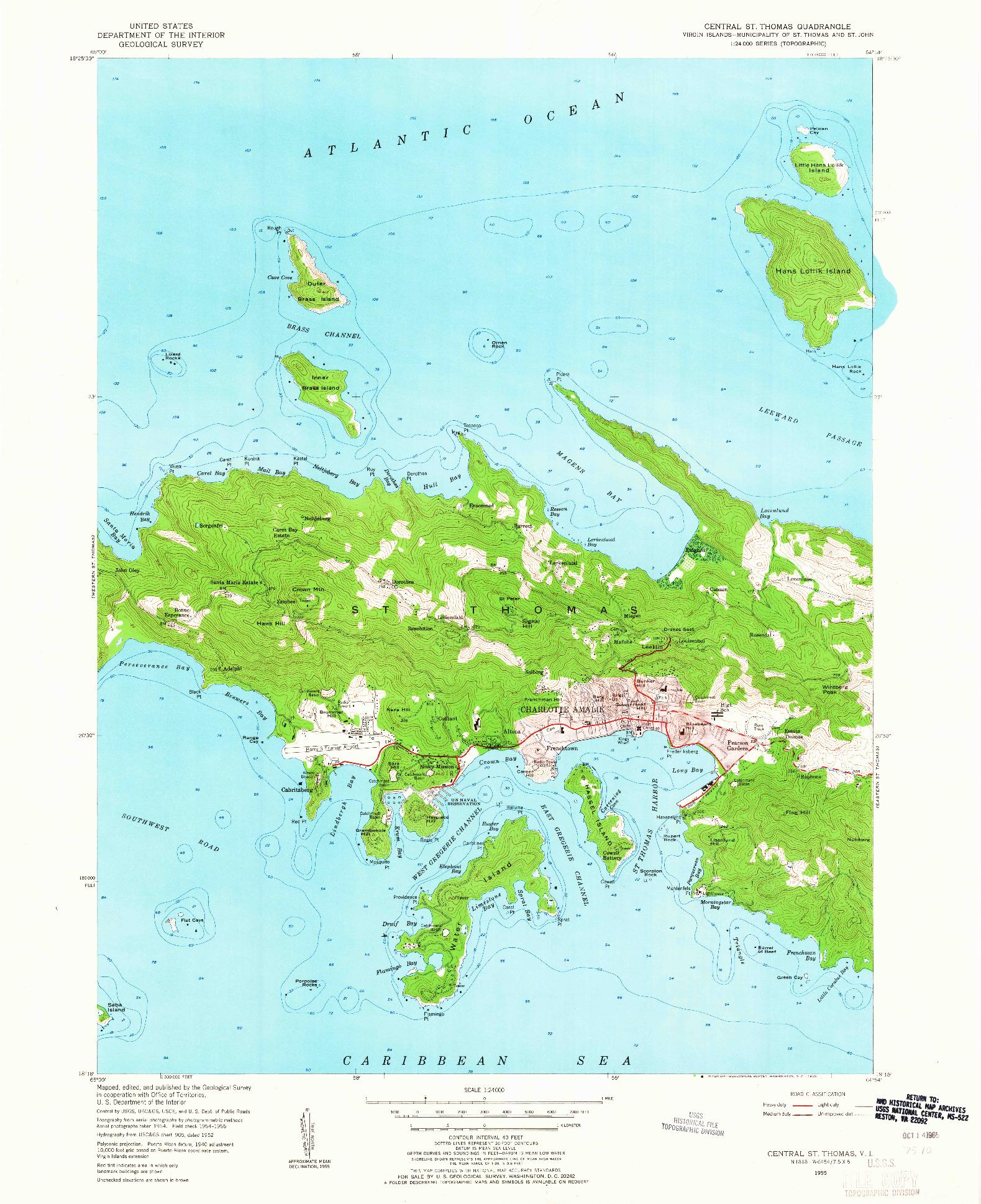 USGS 1:24000-SCALE QUADRANGLE FOR CENTRAL ST. THOMAS, VI 1955