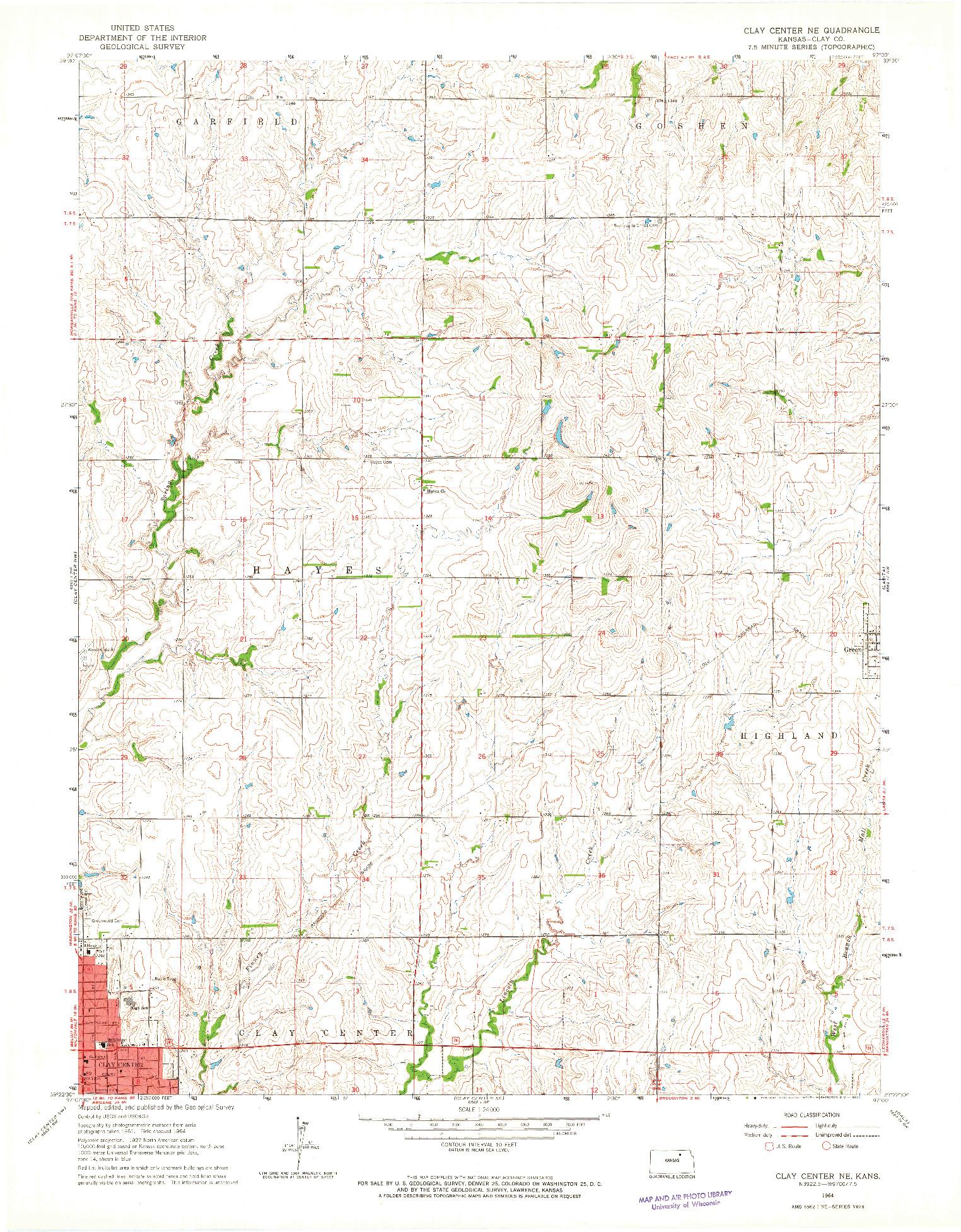 USGS 1:24000-SCALE QUADRANGLE FOR CLAY CENTER NE, KS 1964