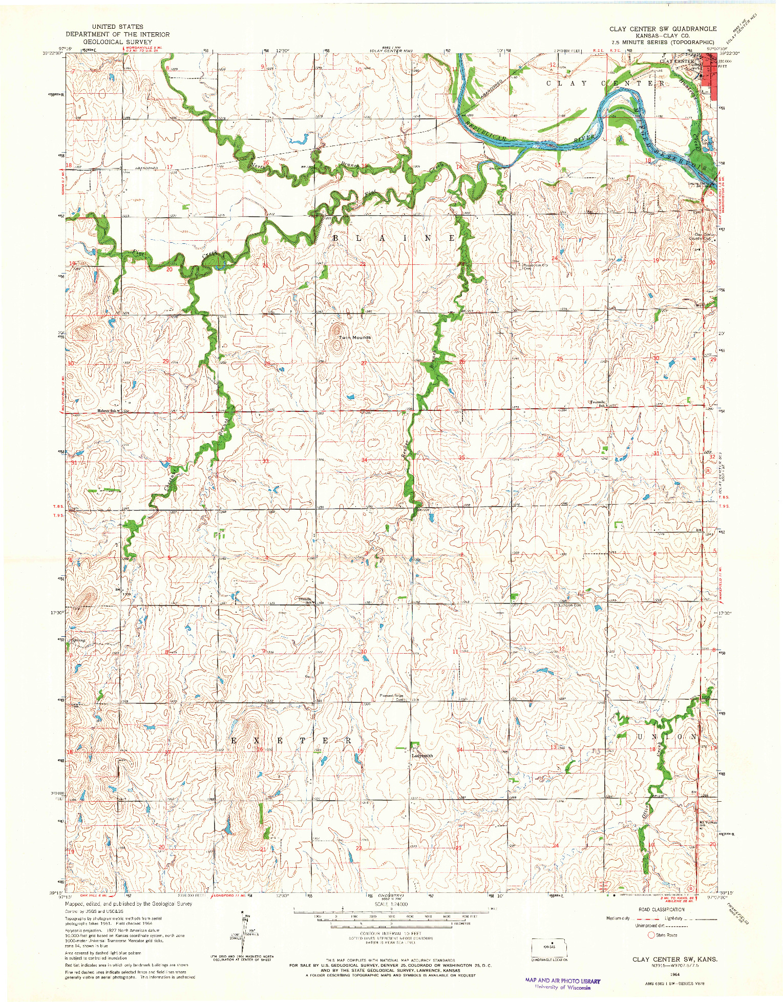 USGS 1:24000-SCALE QUADRANGLE FOR CLAY CENTER SW, KS 1964