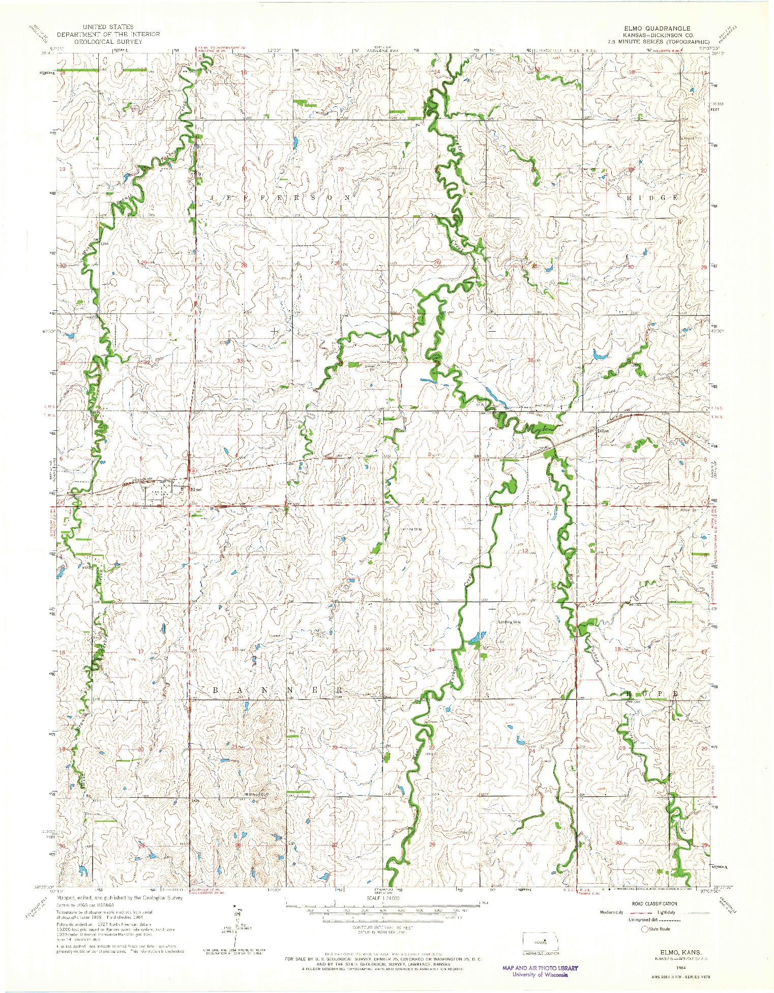 USGS 1:24000-SCALE QUADRANGLE FOR ELMO, KS 1964