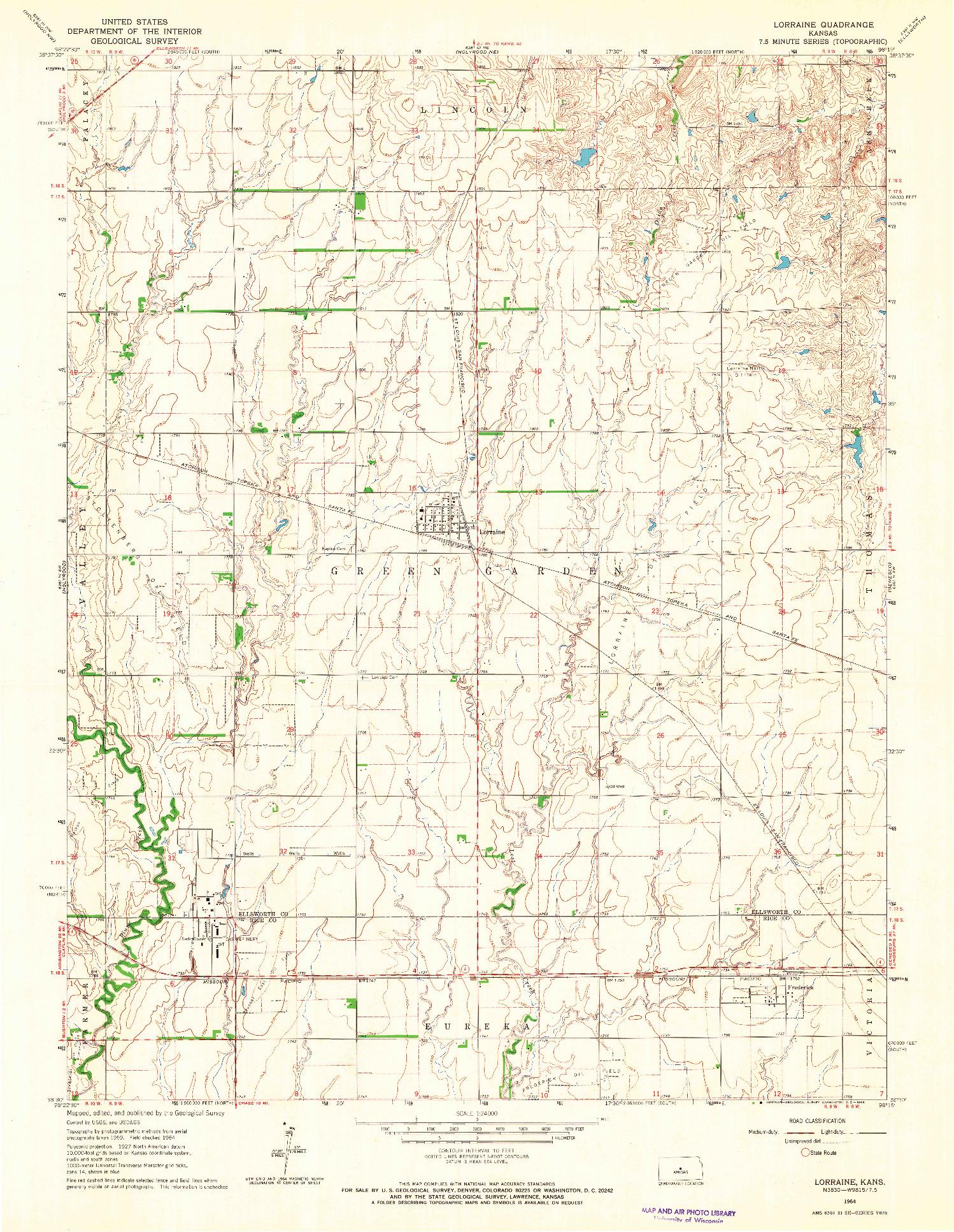 USGS 1:24000-SCALE QUADRANGLE FOR LORRAINE, KS 1964
