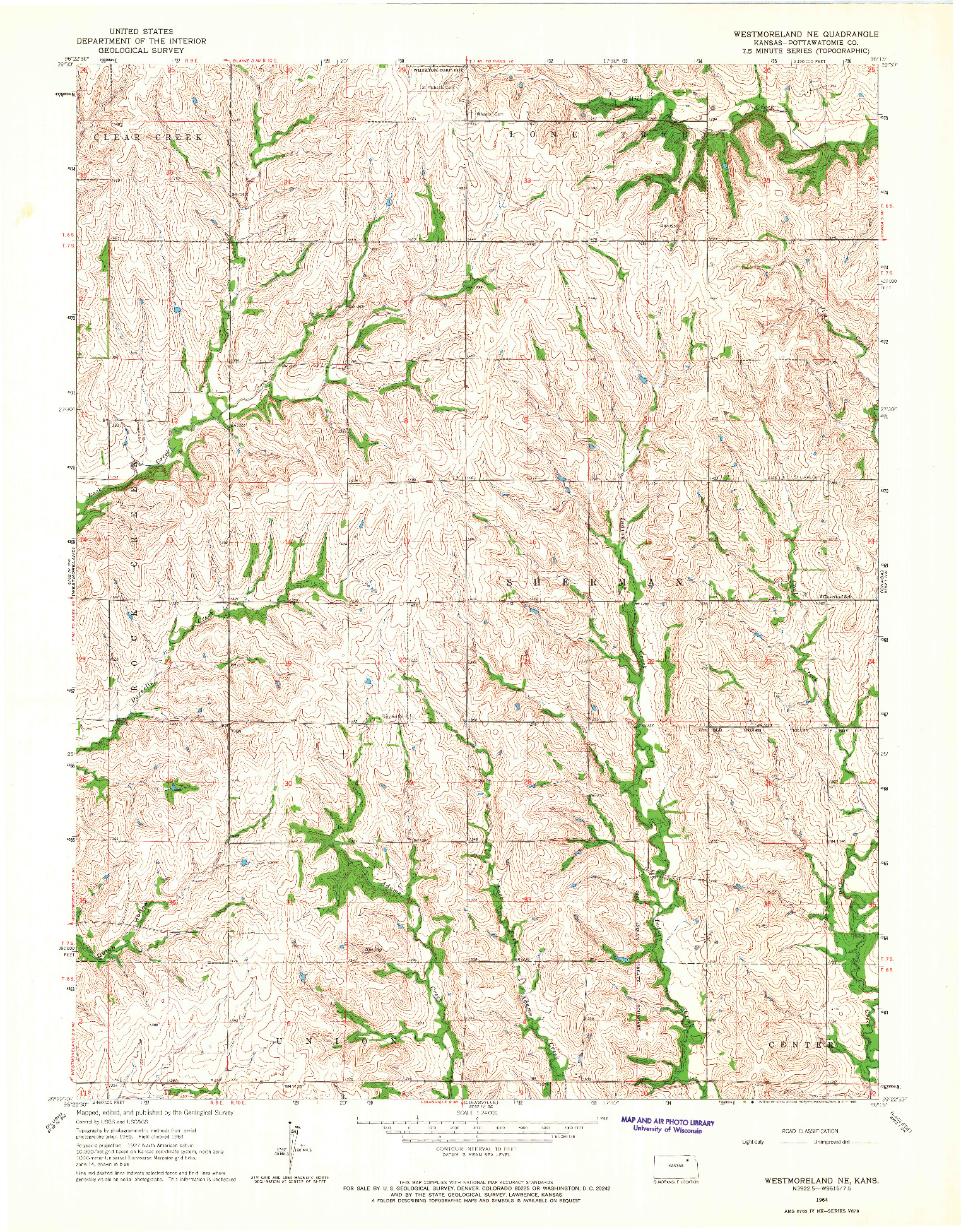 USGS 1:24000-SCALE QUADRANGLE FOR WESTMORELAND NE, KS 1964