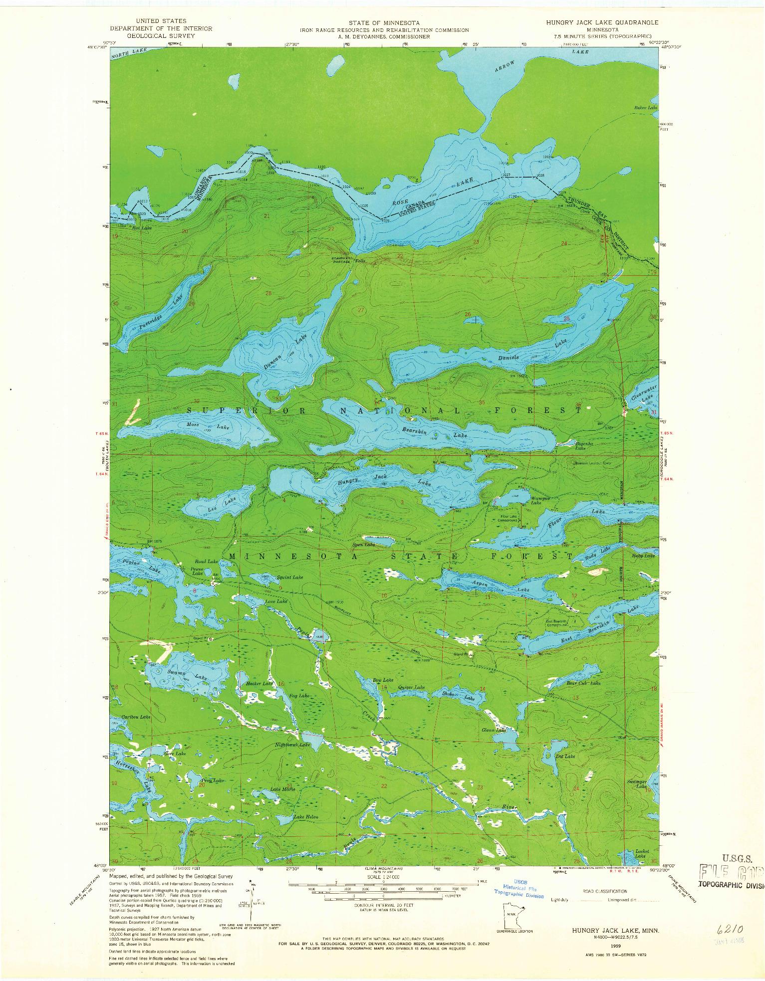 USGS 1:24000-SCALE QUADRANGLE FOR HUNGRY JACK LAKE, MN 1959