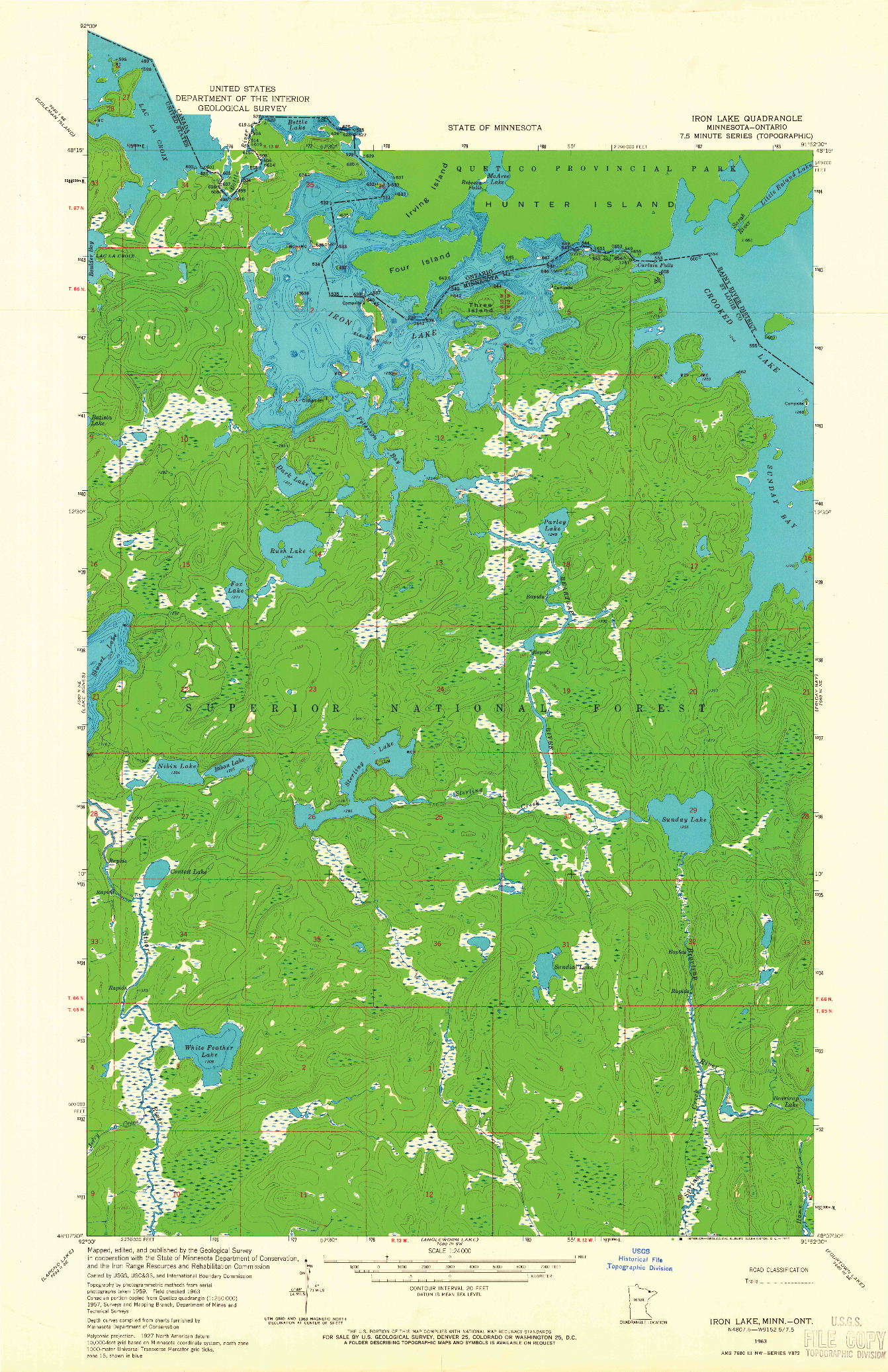 USGS 1:24000-SCALE QUADRANGLE FOR IRON LAKE, MN 1963