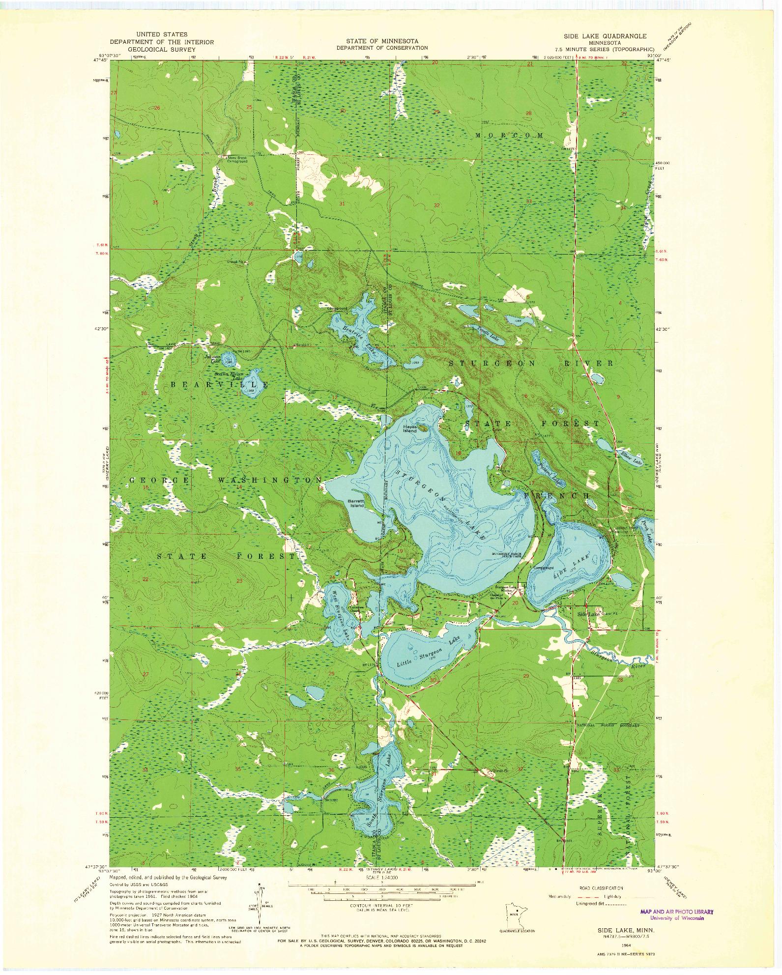 USGS 1:24000-SCALE QUADRANGLE FOR SIDE LAKE, MN 1964