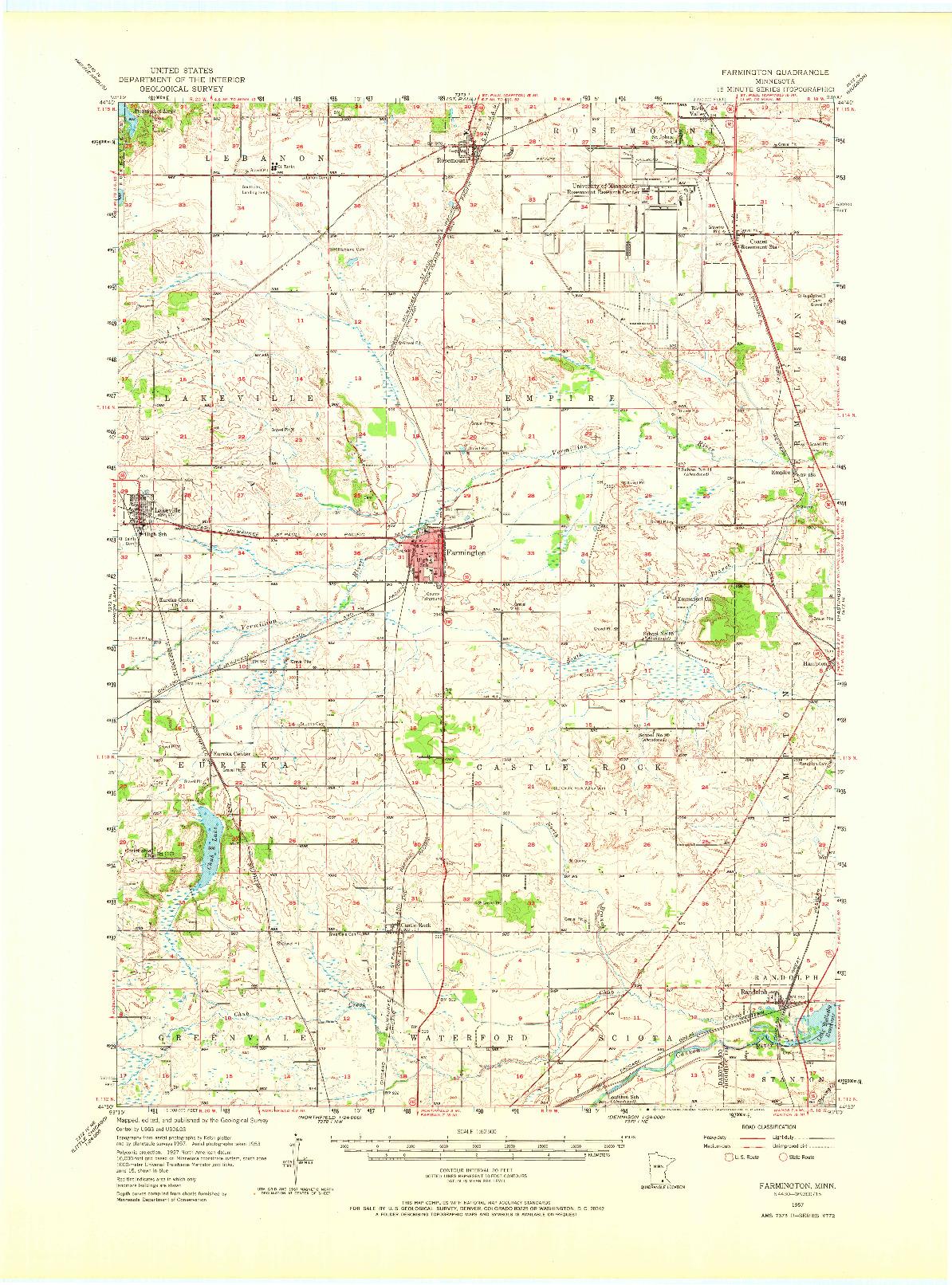 USGS 1:62500-SCALE QUADRANGLE FOR FARMINGTON, MN 1957