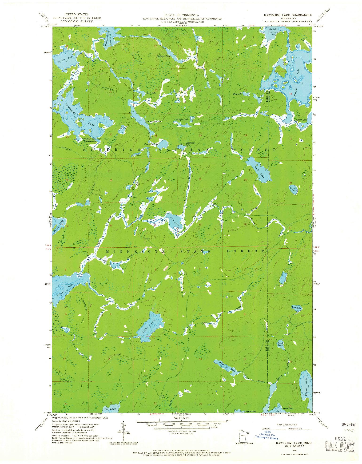 USGS 1:24000-SCALE QUADRANGLE FOR KAWISHIWI LAKE, MN 1960