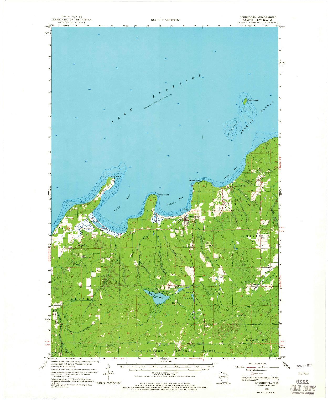 USGS 1:62500-SCALE QUADRANGLE FOR CORNUCOPIA, WI 1964