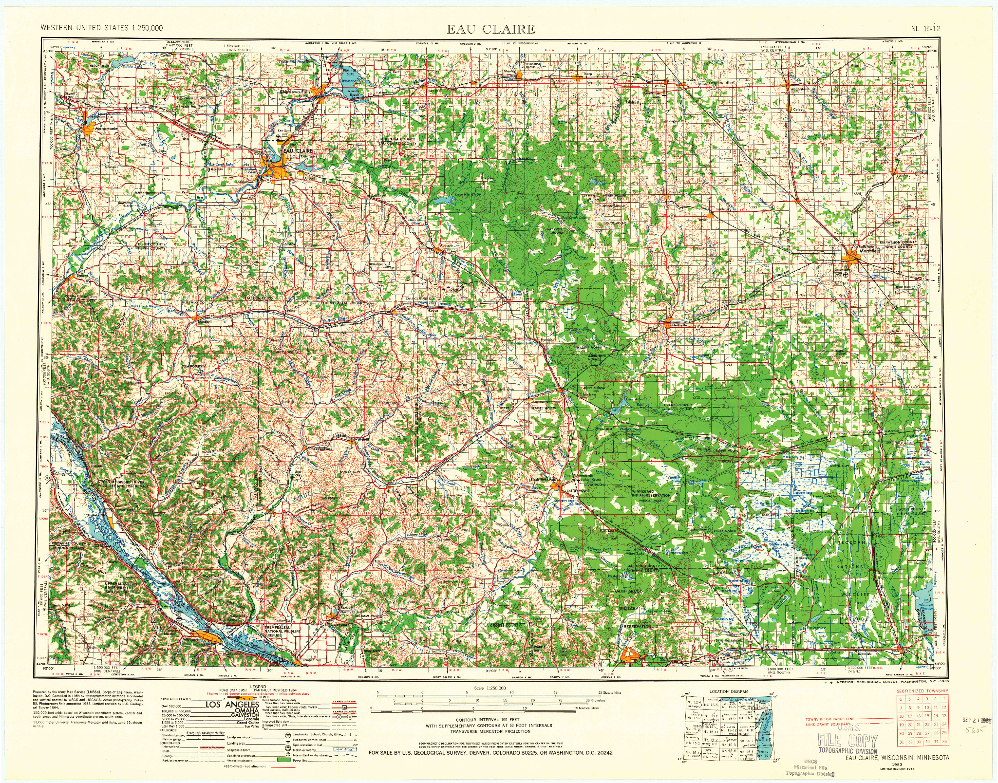 USGS 1:250000-SCALE QUADRANGLE FOR EAU CLAIRE, WI 1953