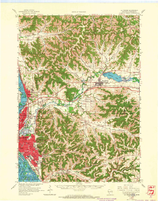 USGS 1:62500-SCALE QUADRANGLE FOR LA CROSSE, WI 1963