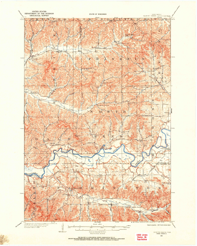 USGS 1:62500-SCALE QUADRANGLE FOR NORTH BEND, WI 1926