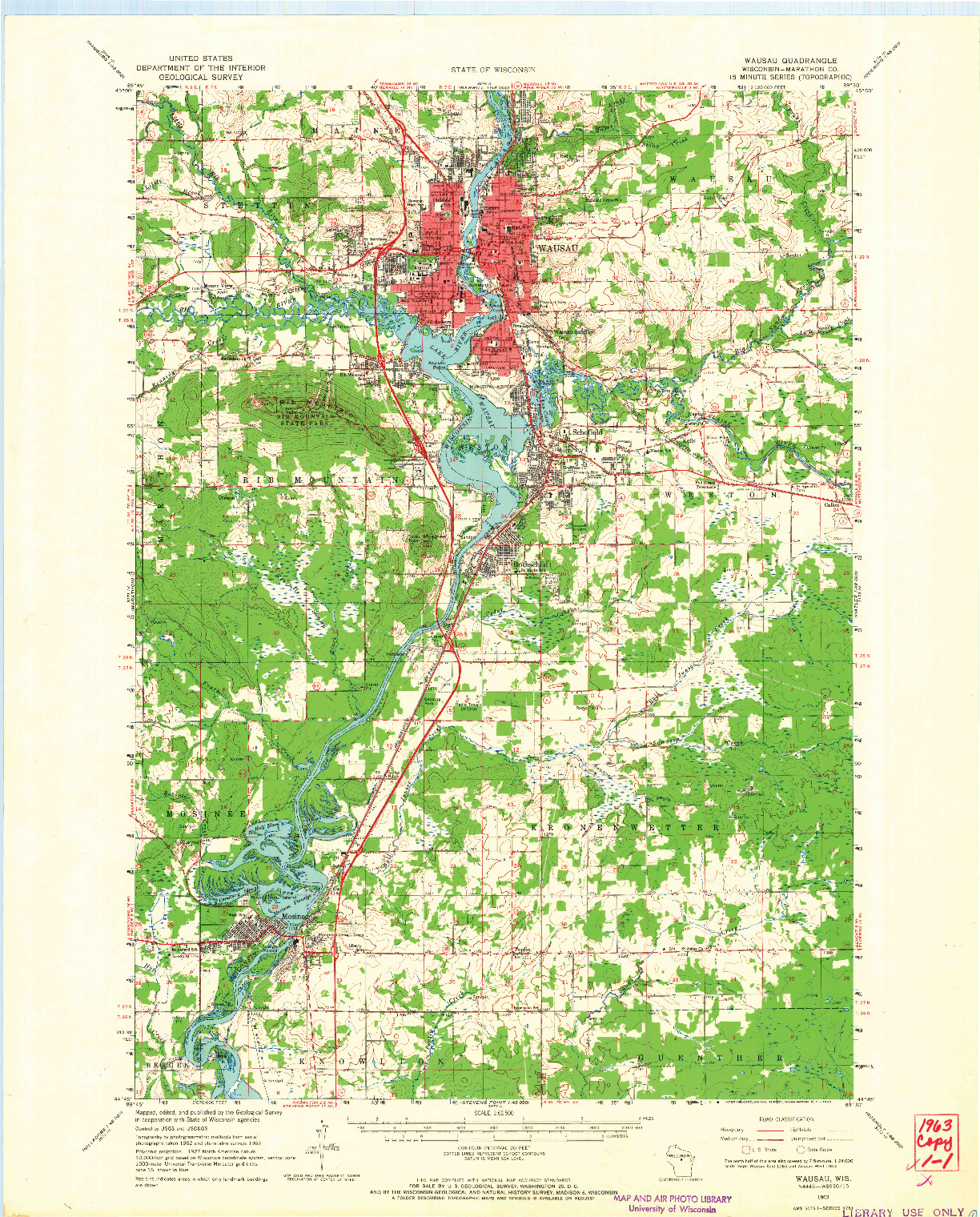 USGS 1:62500-SCALE QUADRANGLE FOR WAUSAU, WI 1963