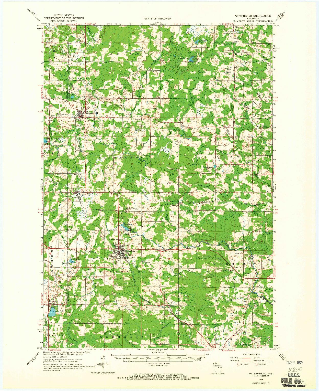 USGS 1:62500-SCALE QUADRANGLE FOR WITTENBERG, WI 1964