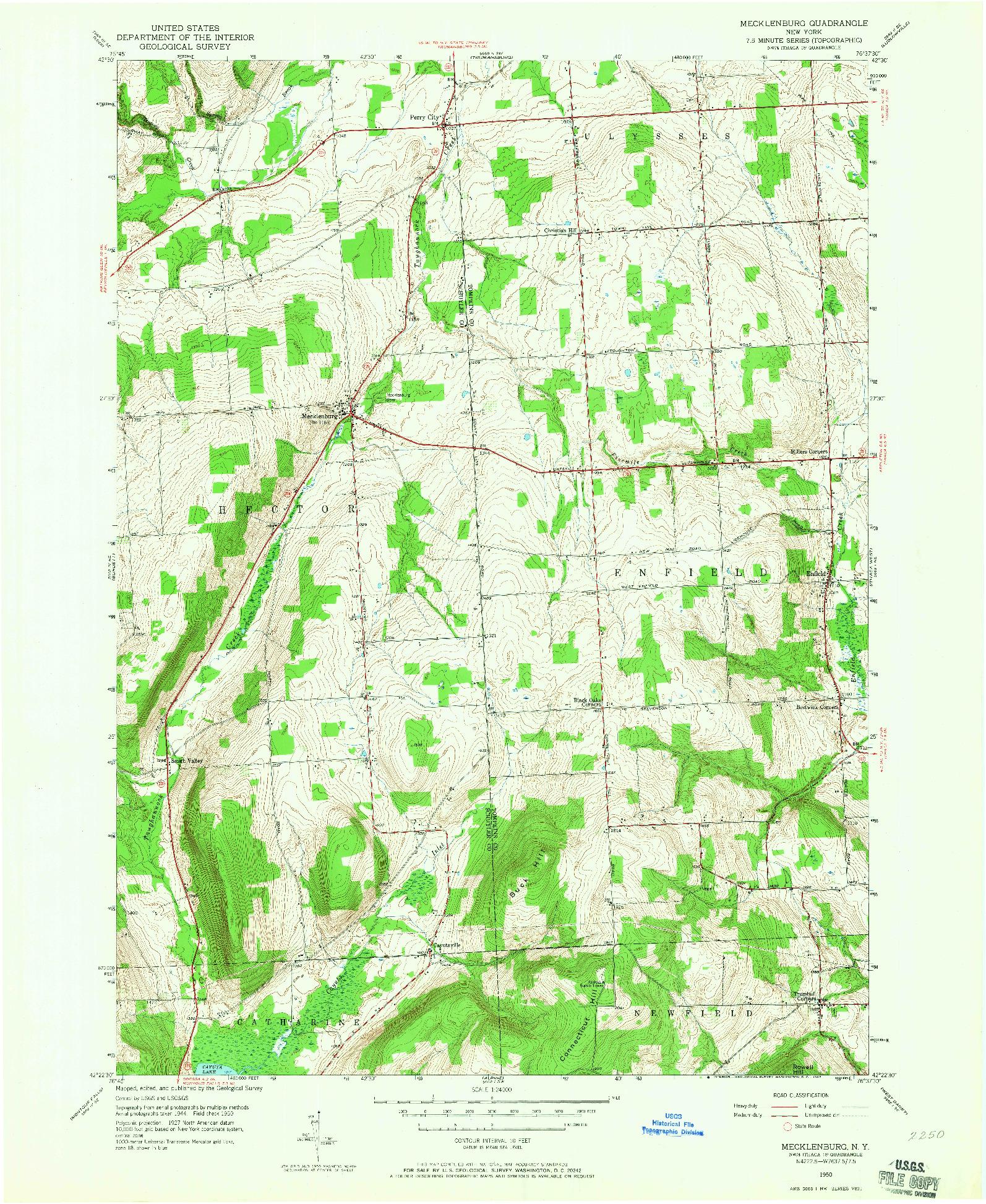 USGS 1:24000-SCALE QUADRANGLE FOR MECKLENBURG, NY 1950