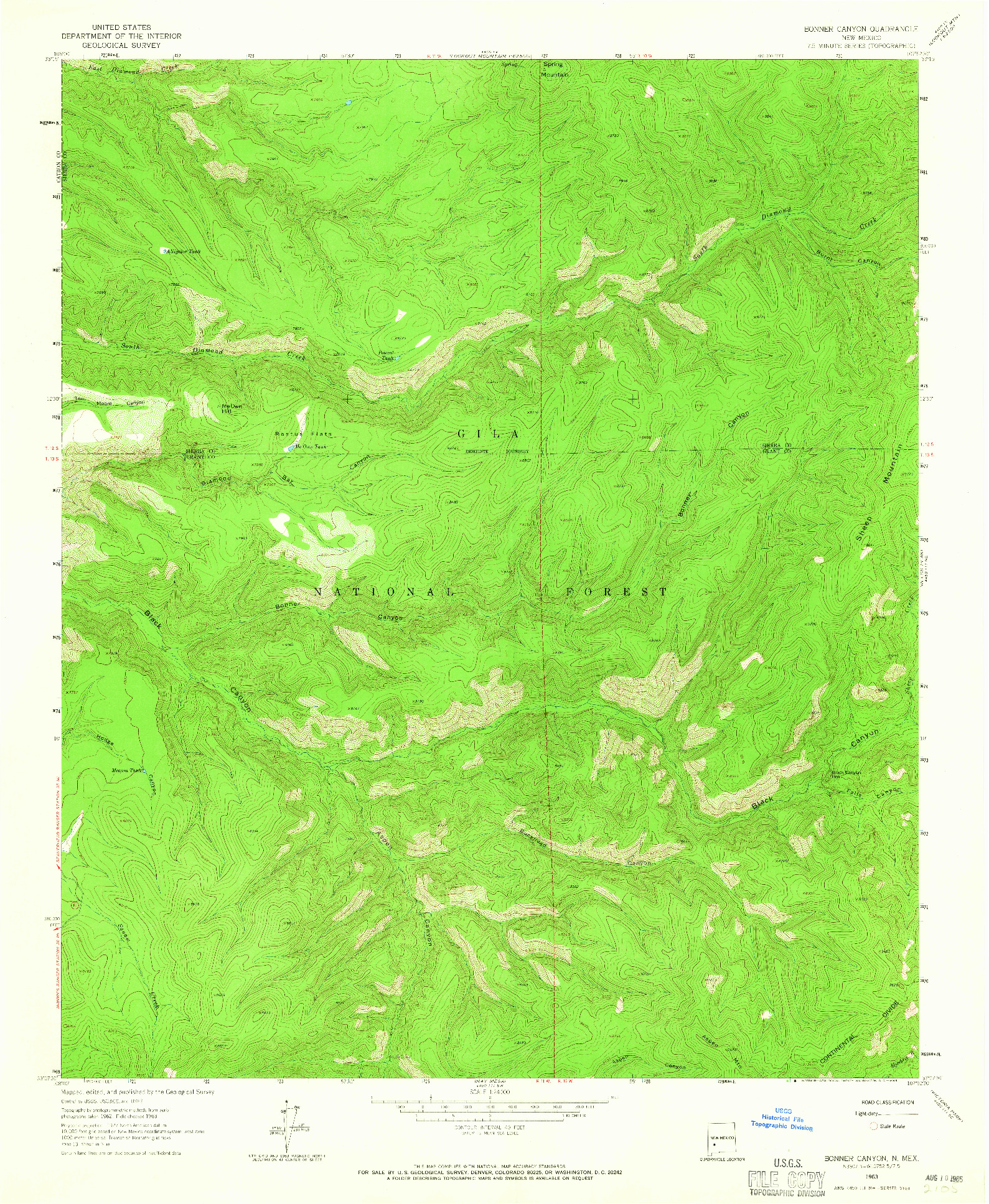 USGS 1:24000-SCALE QUADRANGLE FOR BONNER CANYON, NM 1963