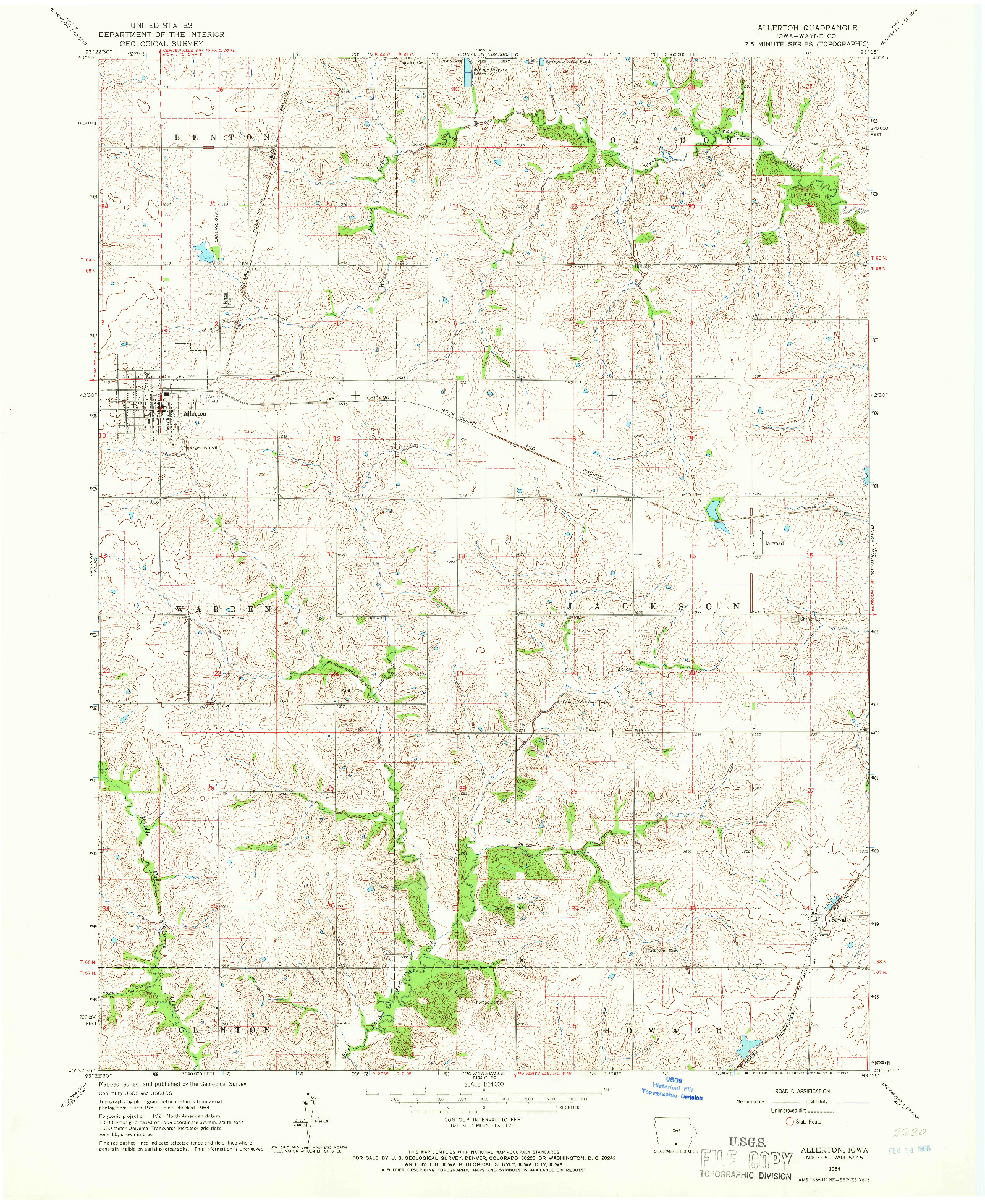 USGS 1:24000-SCALE QUADRANGLE FOR ALLERTON, IA 1964