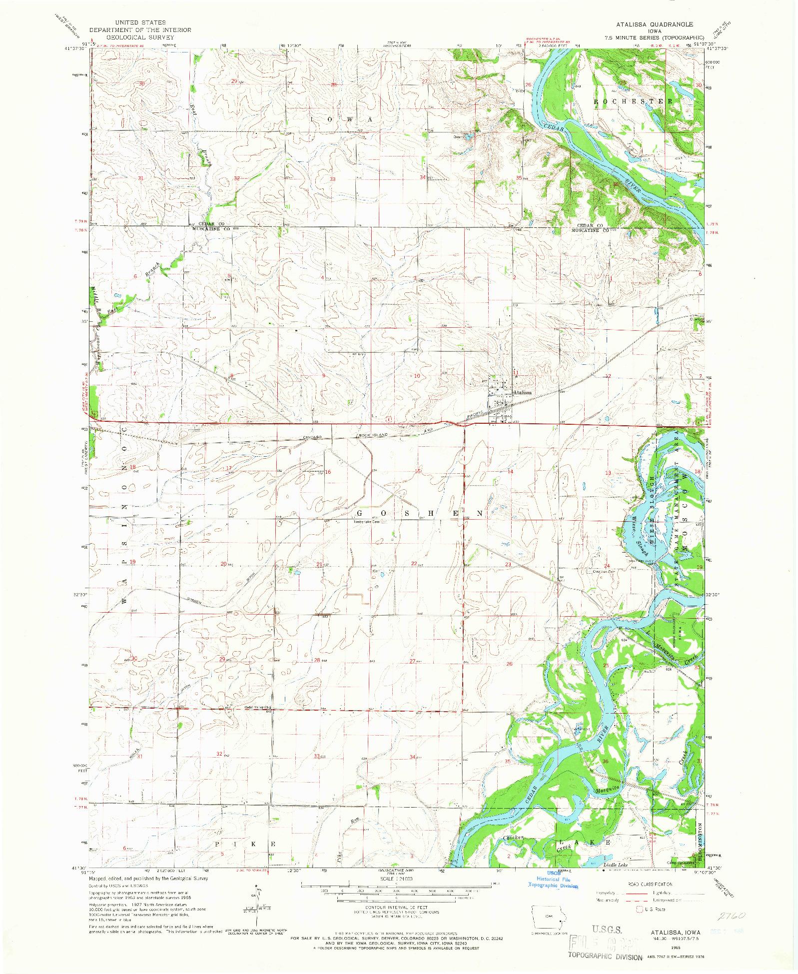 USGS 1:24000-SCALE QUADRANGLE FOR ATALISSA, IA 1965