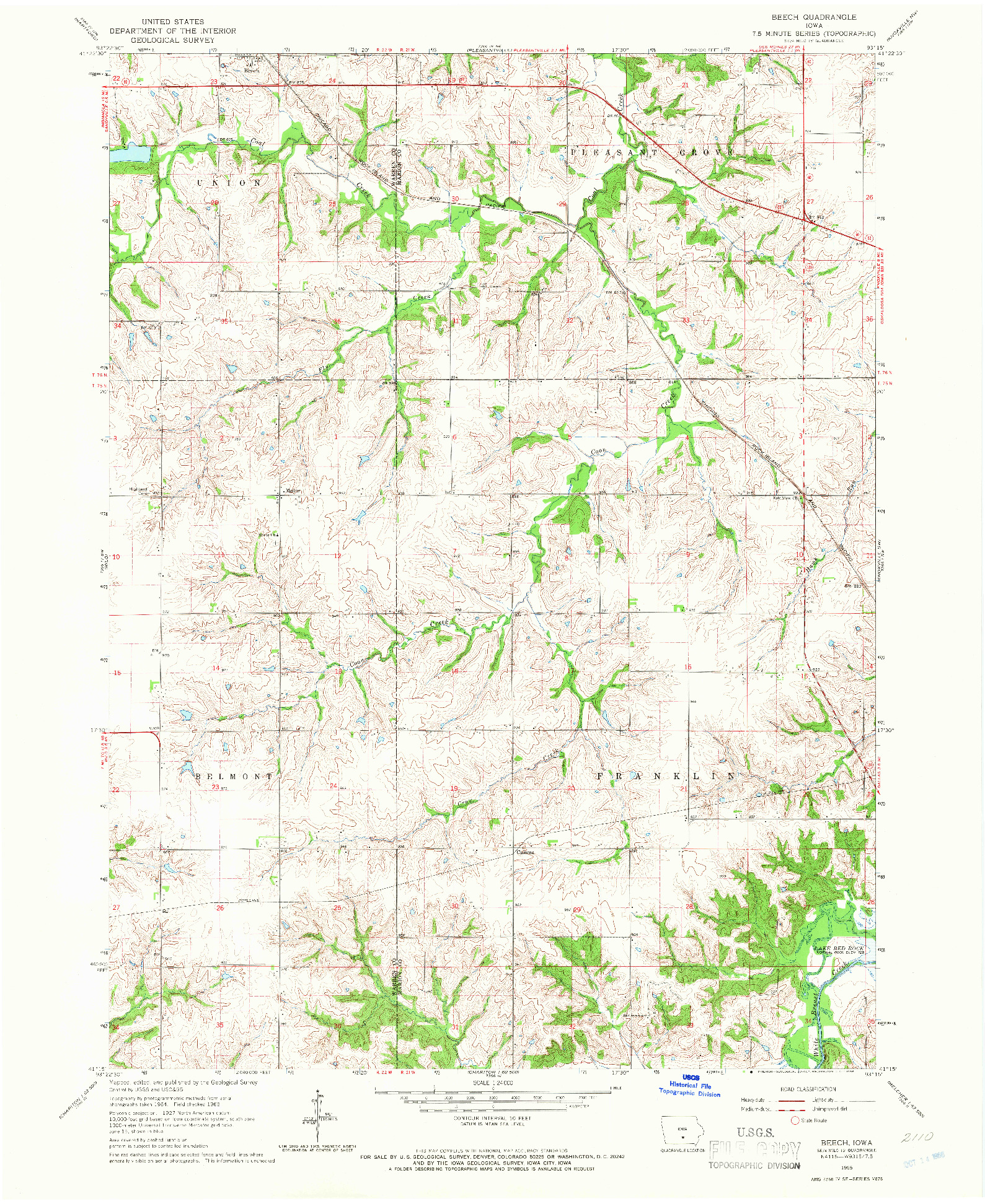 USGS 1:24000-SCALE QUADRANGLE FOR BEECH, IA 1965