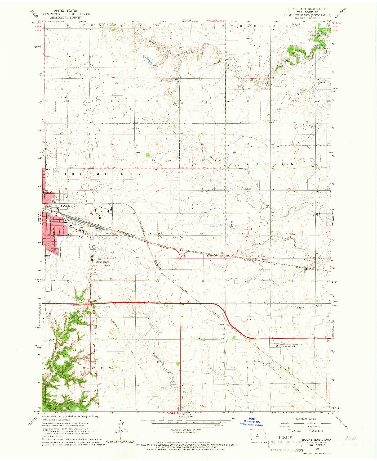 USGS 1:24000-SCALE QUADRANGLE FOR BOONE EAST, IA 1965