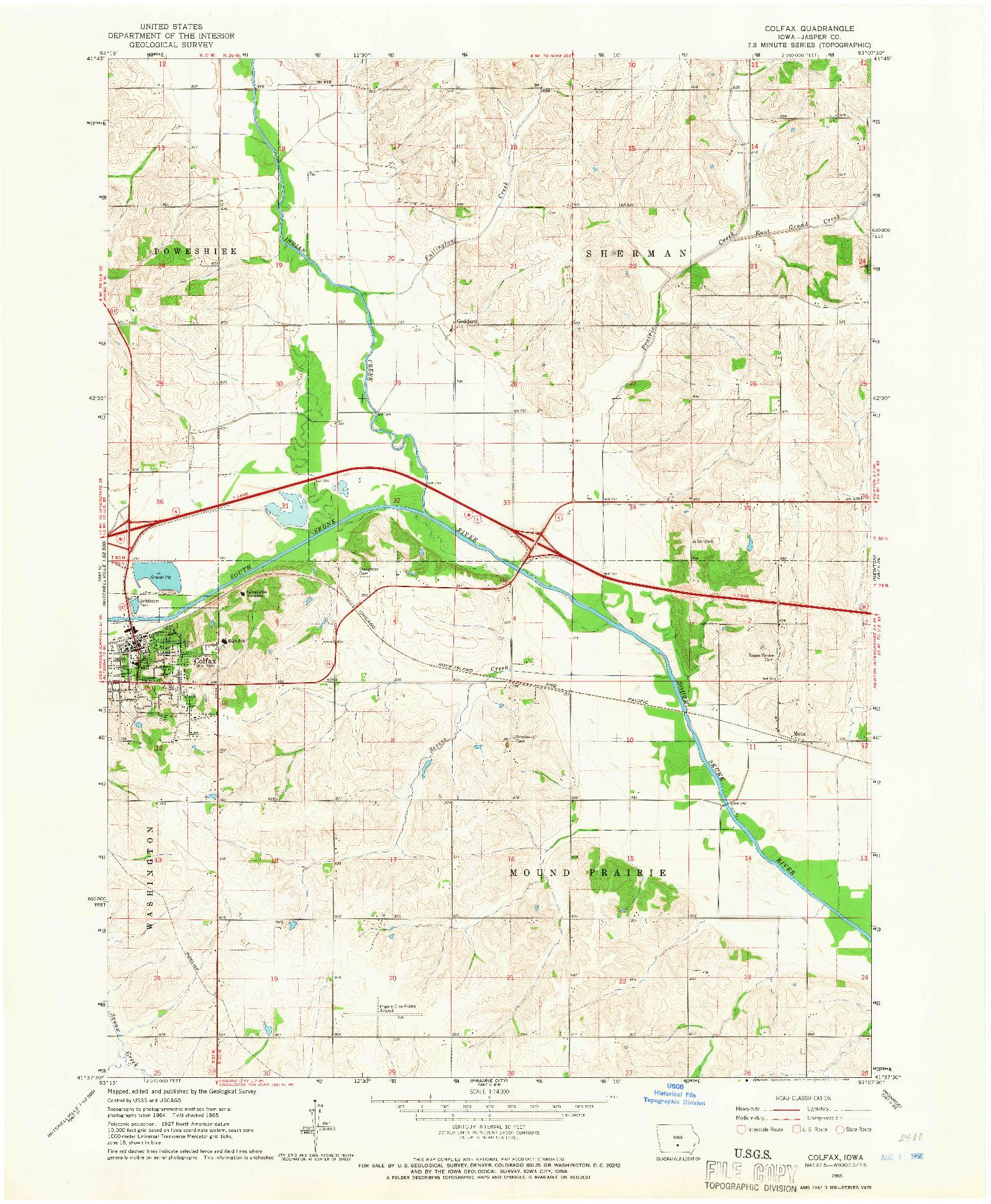 USGS 1:24000-SCALE QUADRANGLE FOR COLFAX, IA 1965