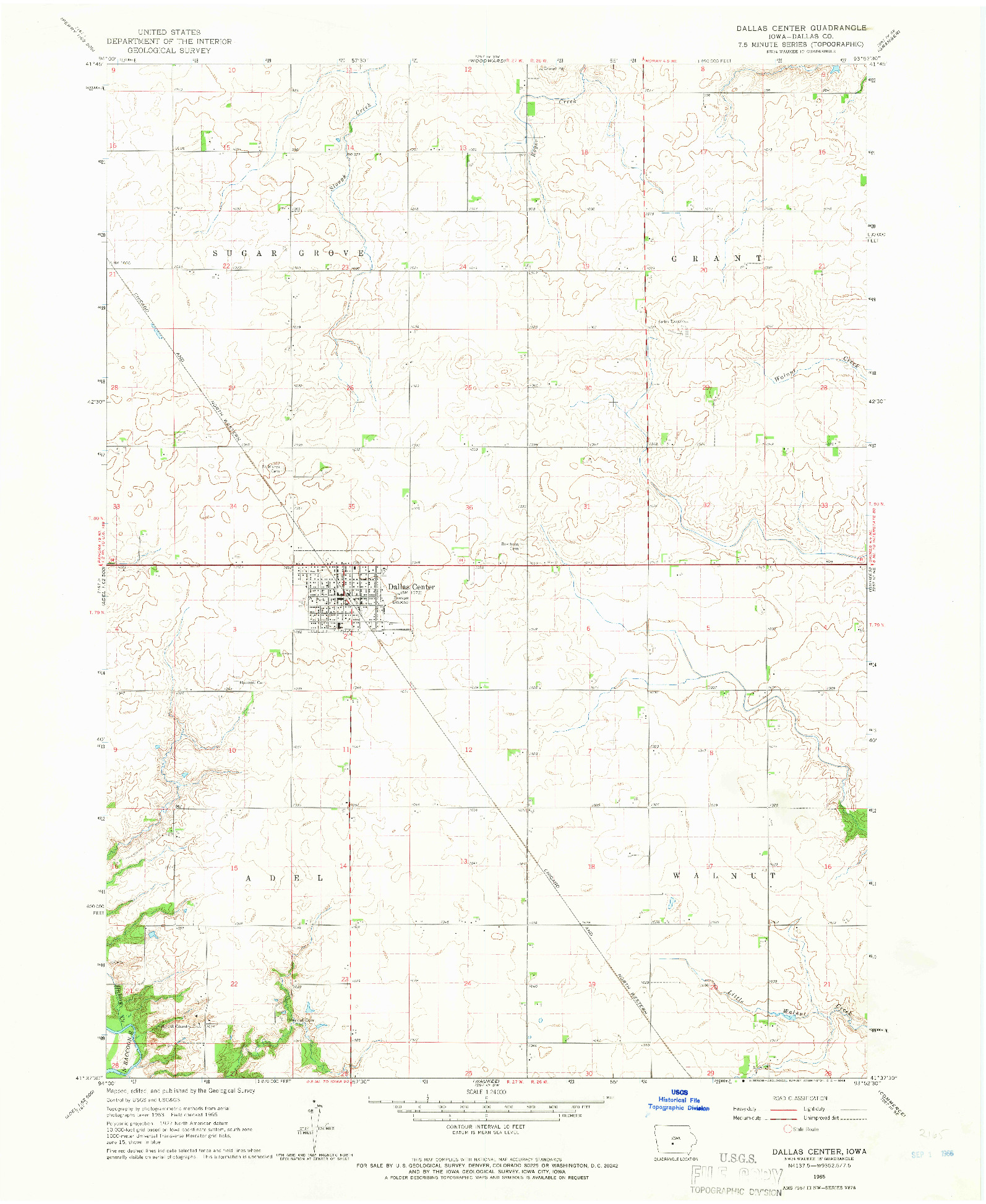 USGS 1:24000-SCALE QUADRANGLE FOR DALLAS CENTER, IA 1965