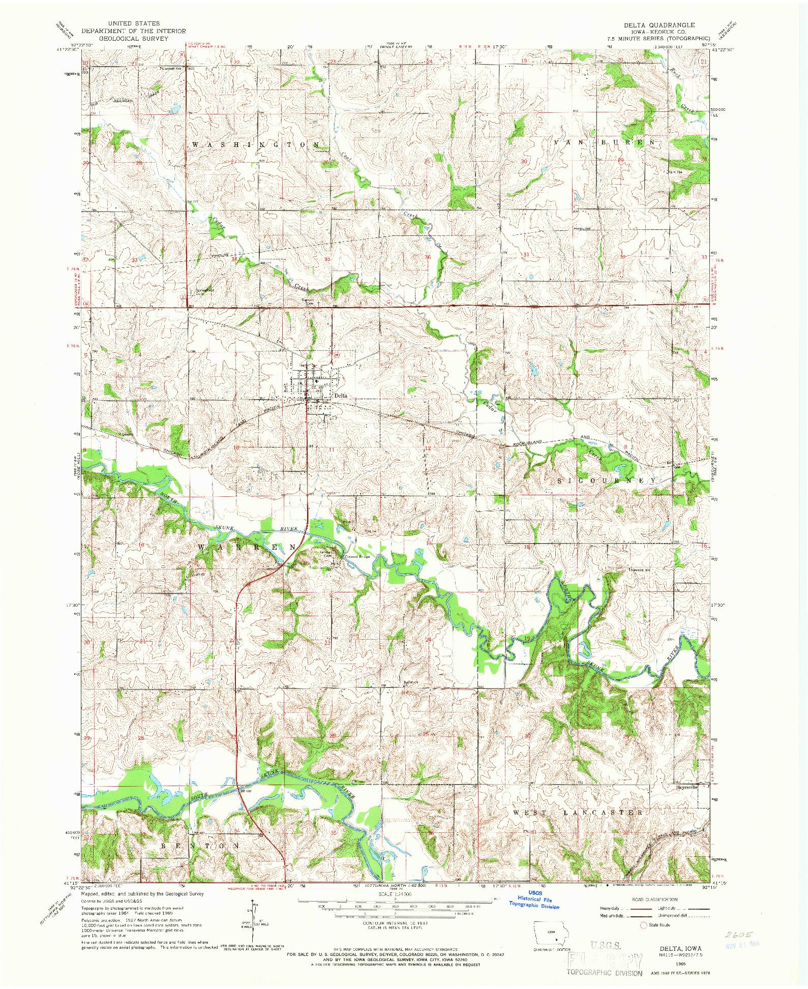 USGS 1:24000-SCALE QUADRANGLE FOR DELTA, IA 1965