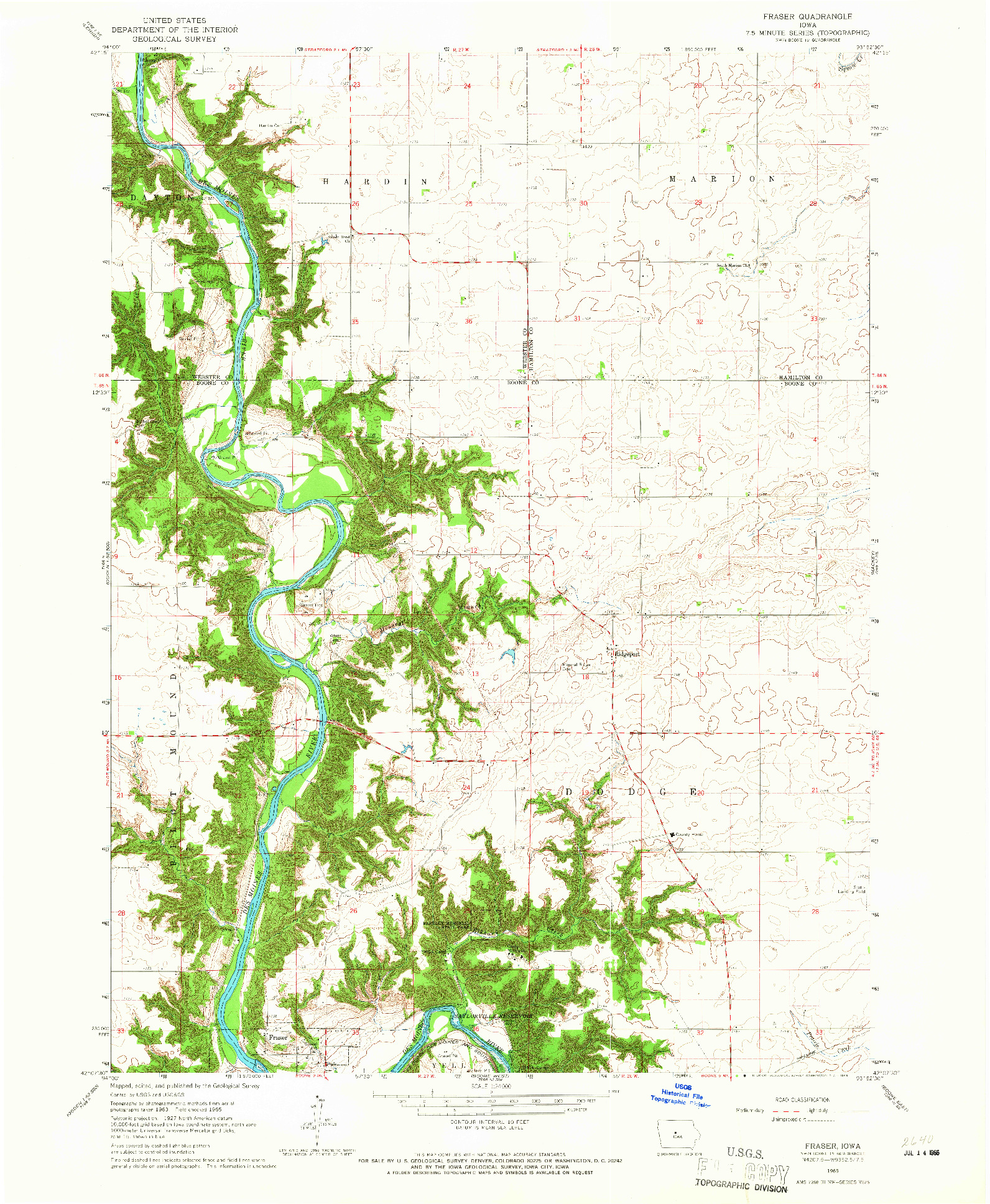 USGS 1:24000-SCALE QUADRANGLE FOR FRASER, IA 1965