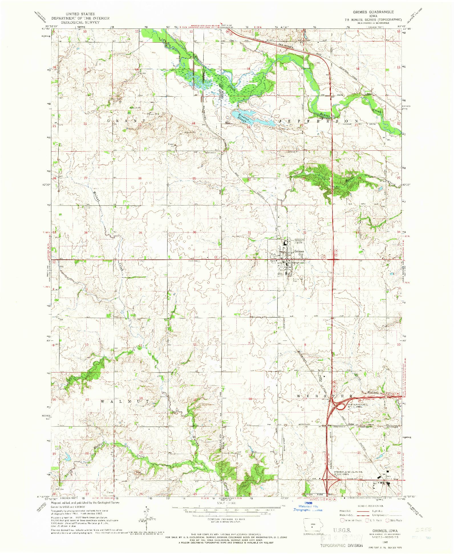 USGS 1:24000-SCALE QUADRANGLE FOR GRIMES, IA 1965