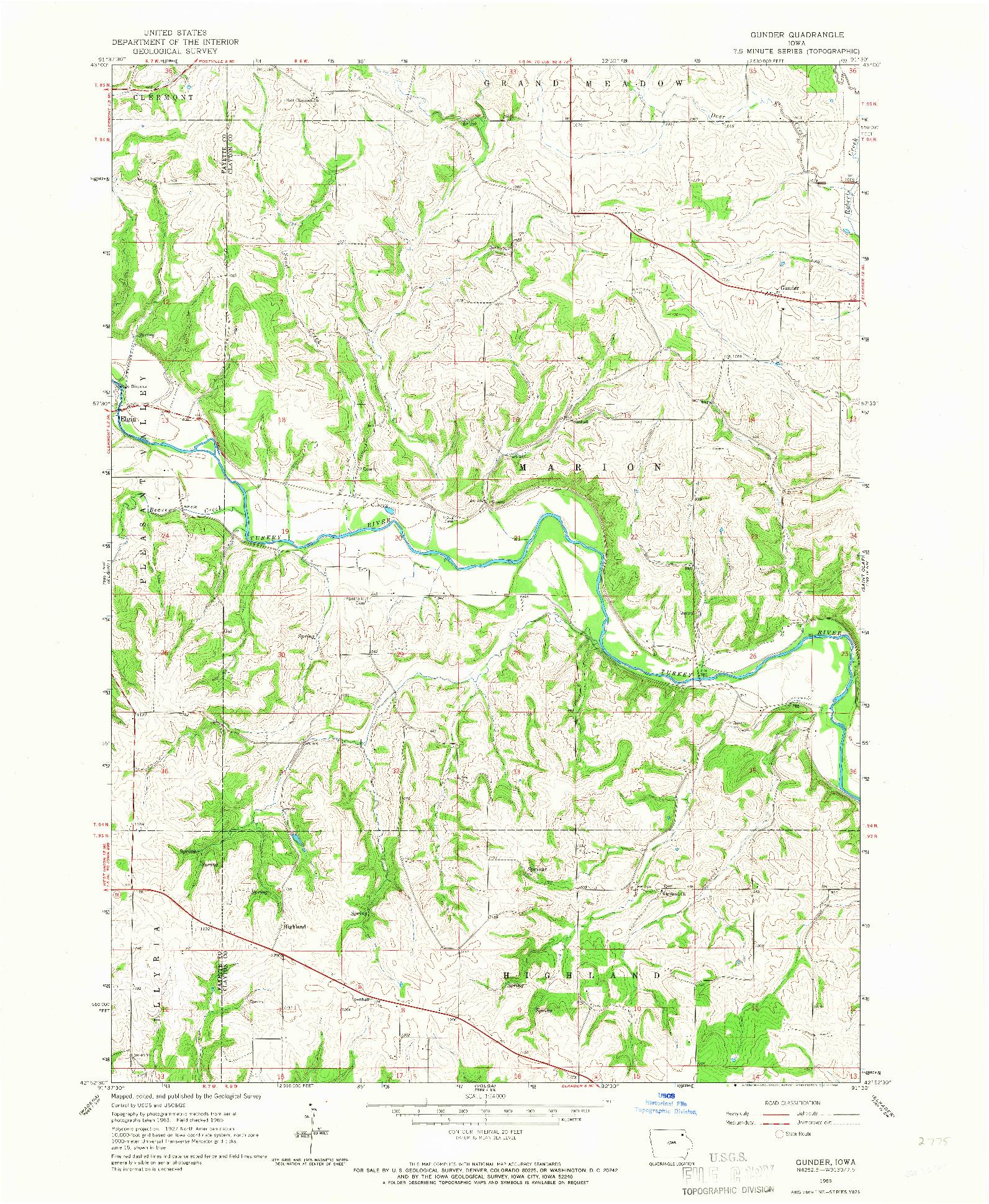 USGS 1:24000-SCALE QUADRANGLE FOR GUNDER, IA 1965