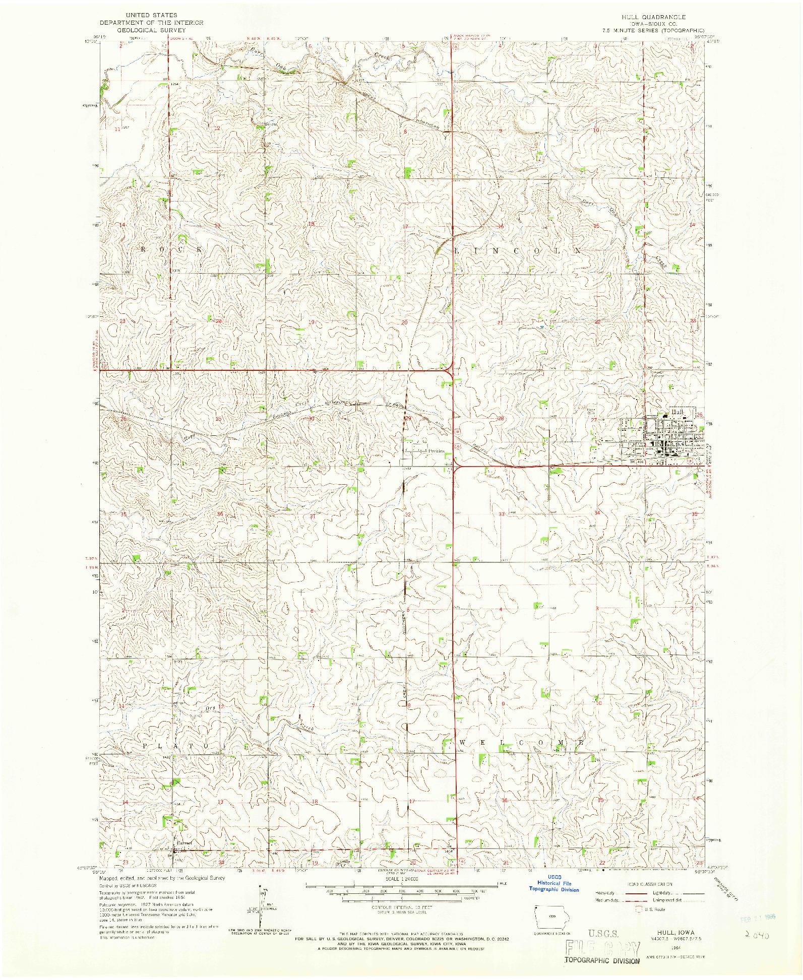 USGS 1:24000-SCALE QUADRANGLE FOR HULL, IA 1964