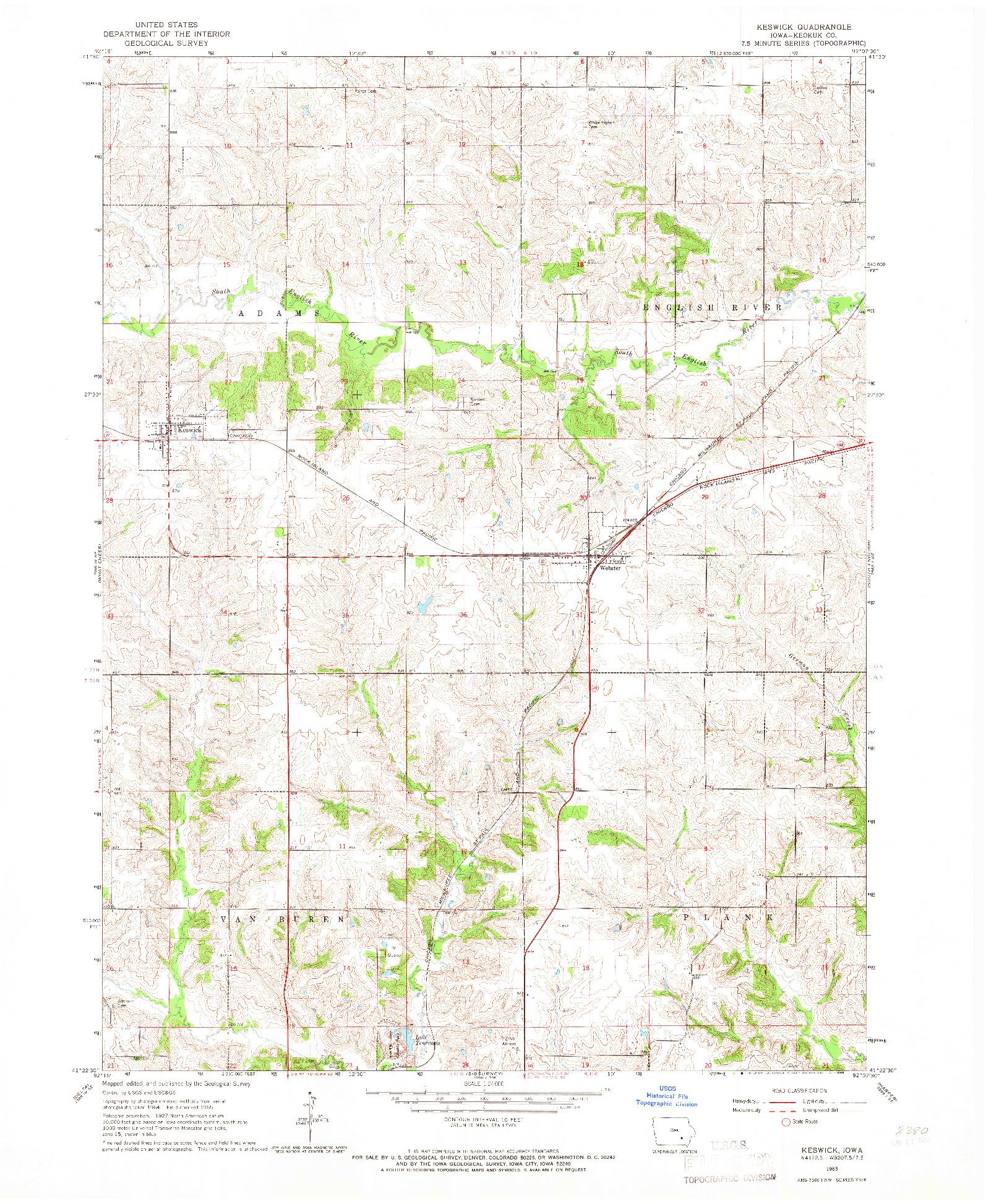 USGS 1:24000-SCALE QUADRANGLE FOR KESWICK, IA 1965