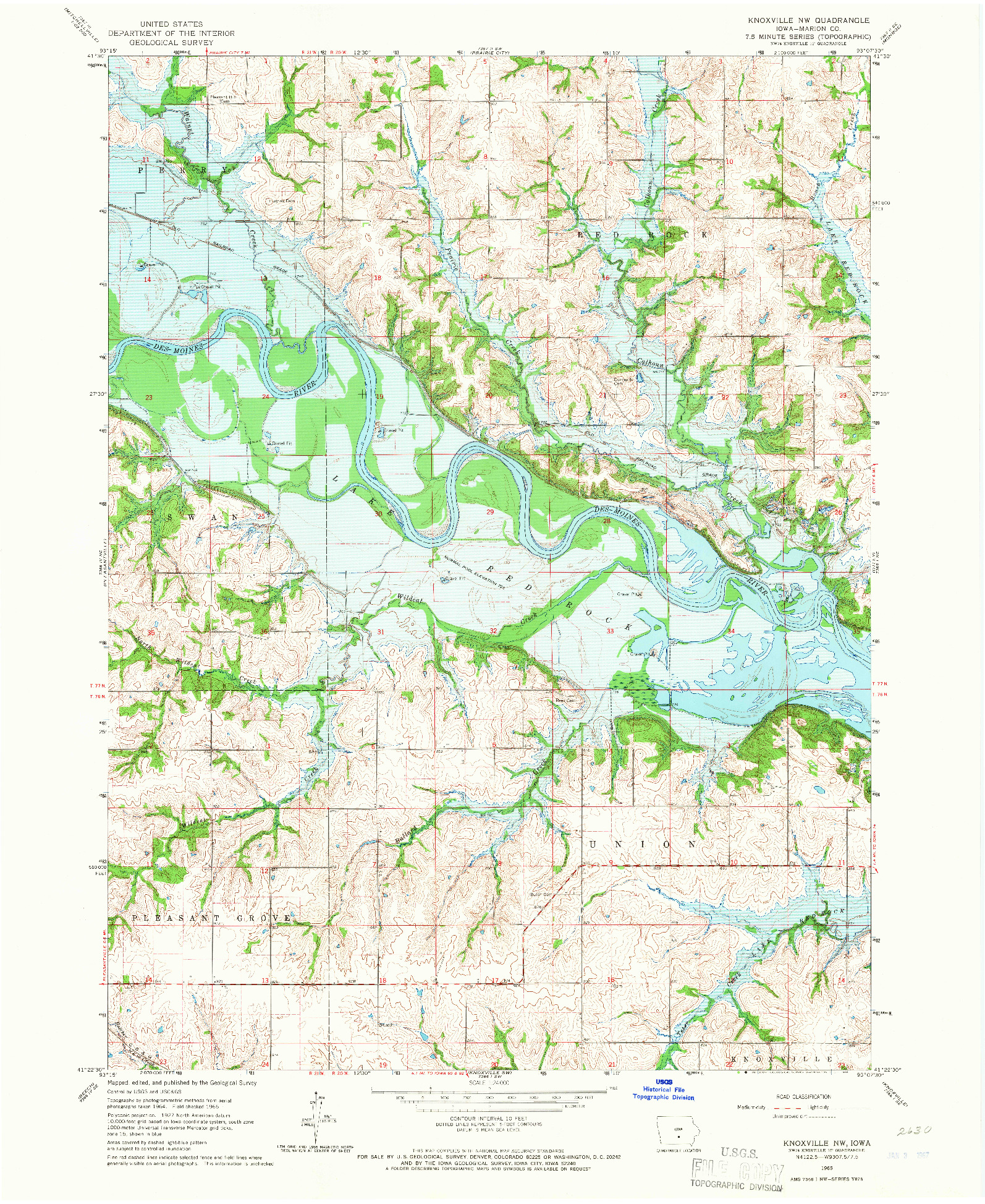USGS 1:24000-SCALE QUADRANGLE FOR KNOXVILLE NW, IA 1965