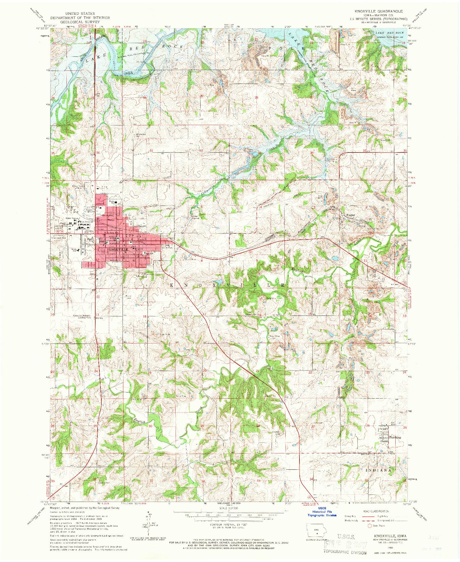 USGS 1:24000-SCALE QUADRANGLE FOR KNOXVILLE, IA 1965