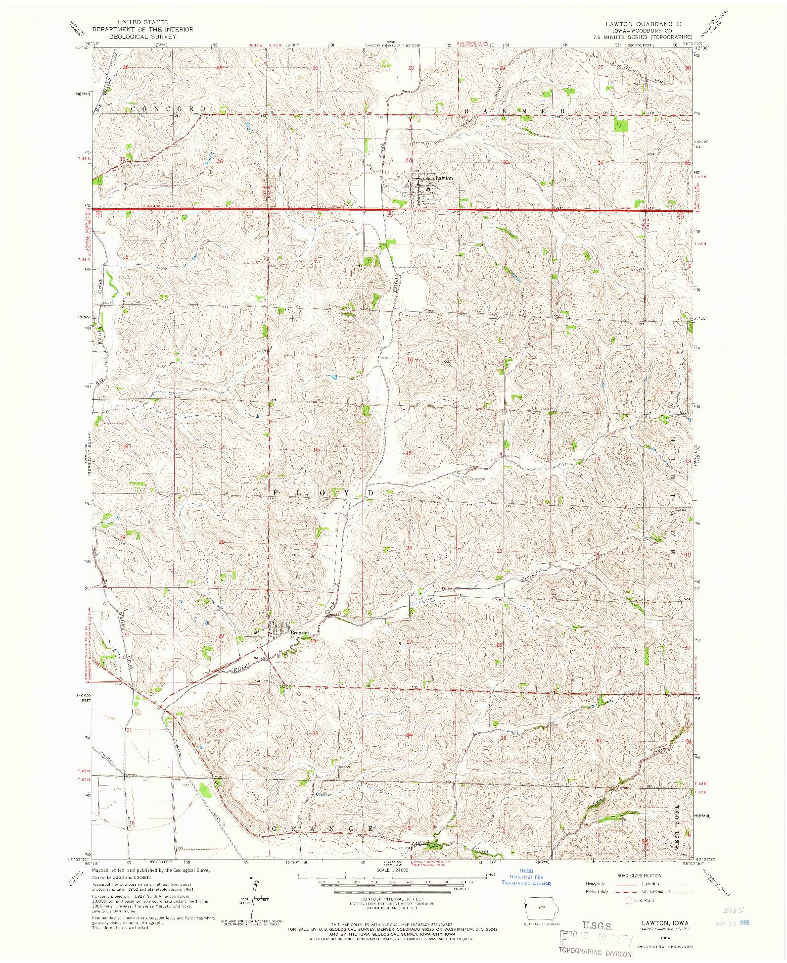 USGS 1:24000-SCALE QUADRANGLE FOR LAWTON, IA 1964