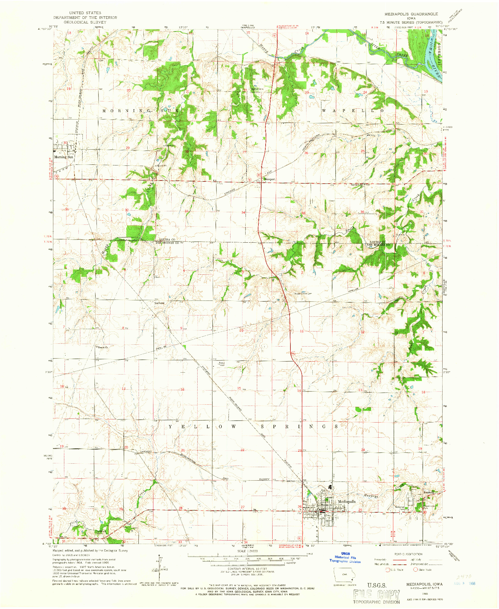 USGS 1:24000-SCALE QUADRANGLE FOR MEDIAPOLIS, IA 1965