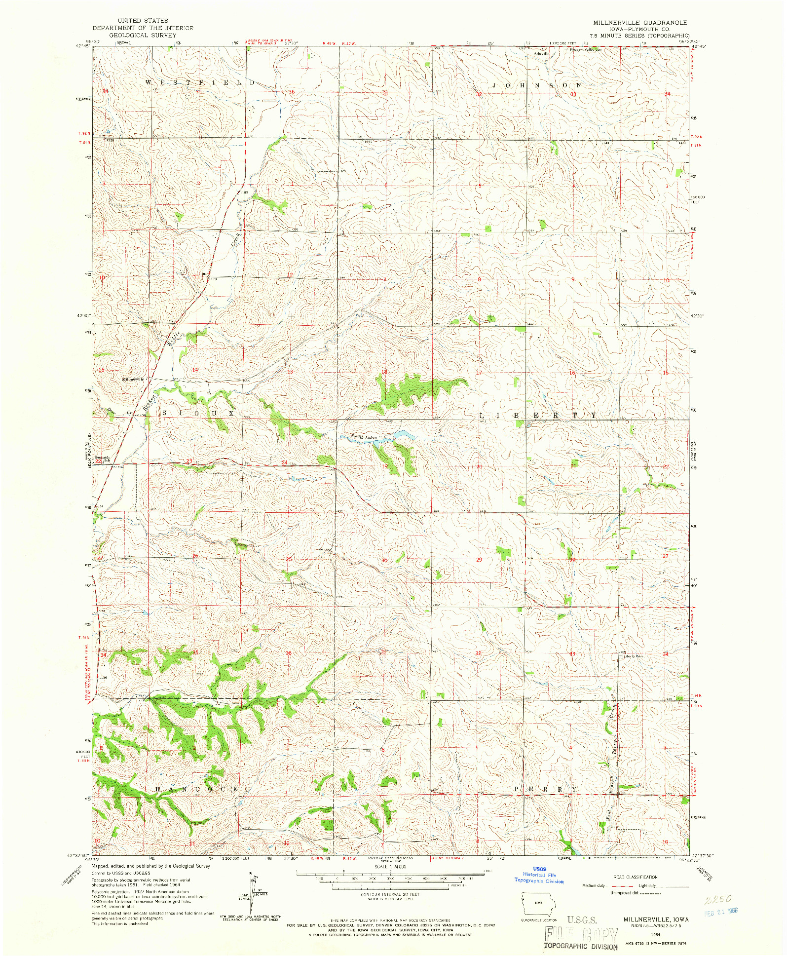 USGS 1:24000-SCALE QUADRANGLE FOR MILLNERVILLE, IA 1964