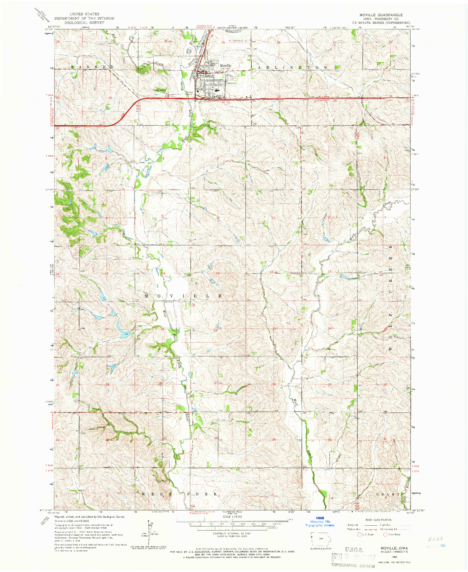 USGS 1:24000-SCALE QUADRANGLE FOR MOVILLE, IA 1964