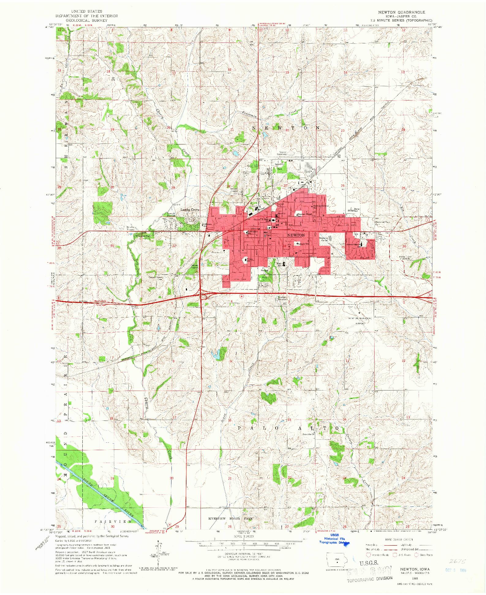 USGS 1:24000-SCALE QUADRANGLE FOR NEWTON, IA 1965