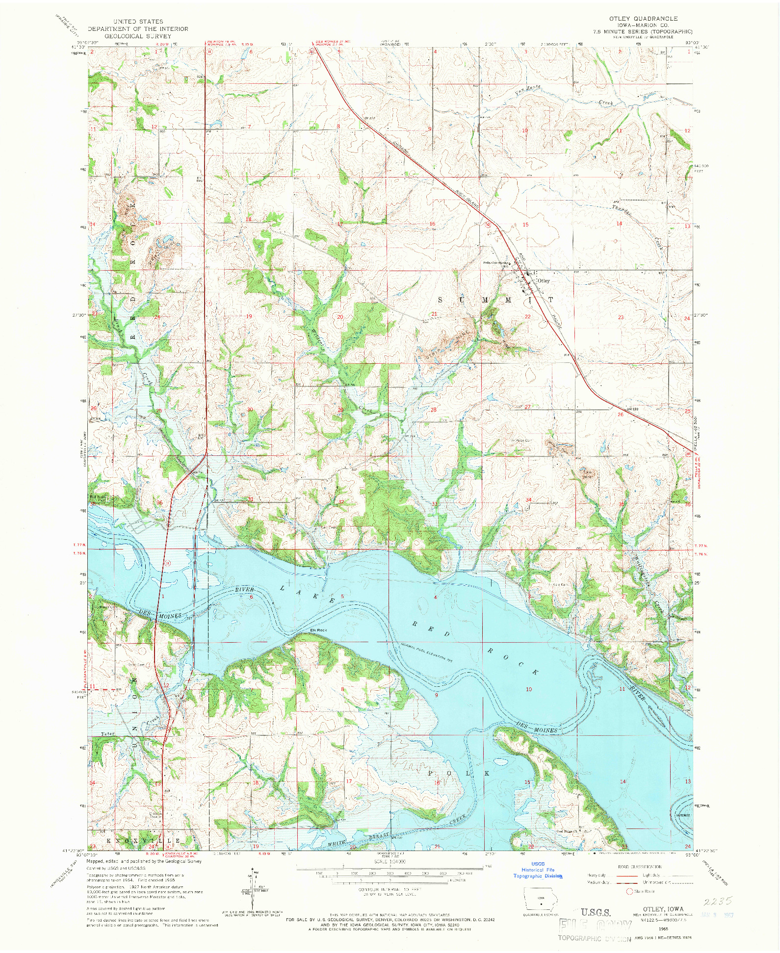 USGS 1:24000-SCALE QUADRANGLE FOR OTLEY, IA 1965