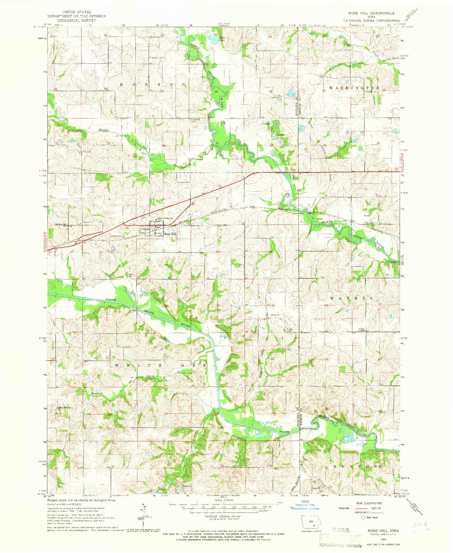 USGS 1:24000-SCALE QUADRANGLE FOR ROSE HILL, IA 1965
