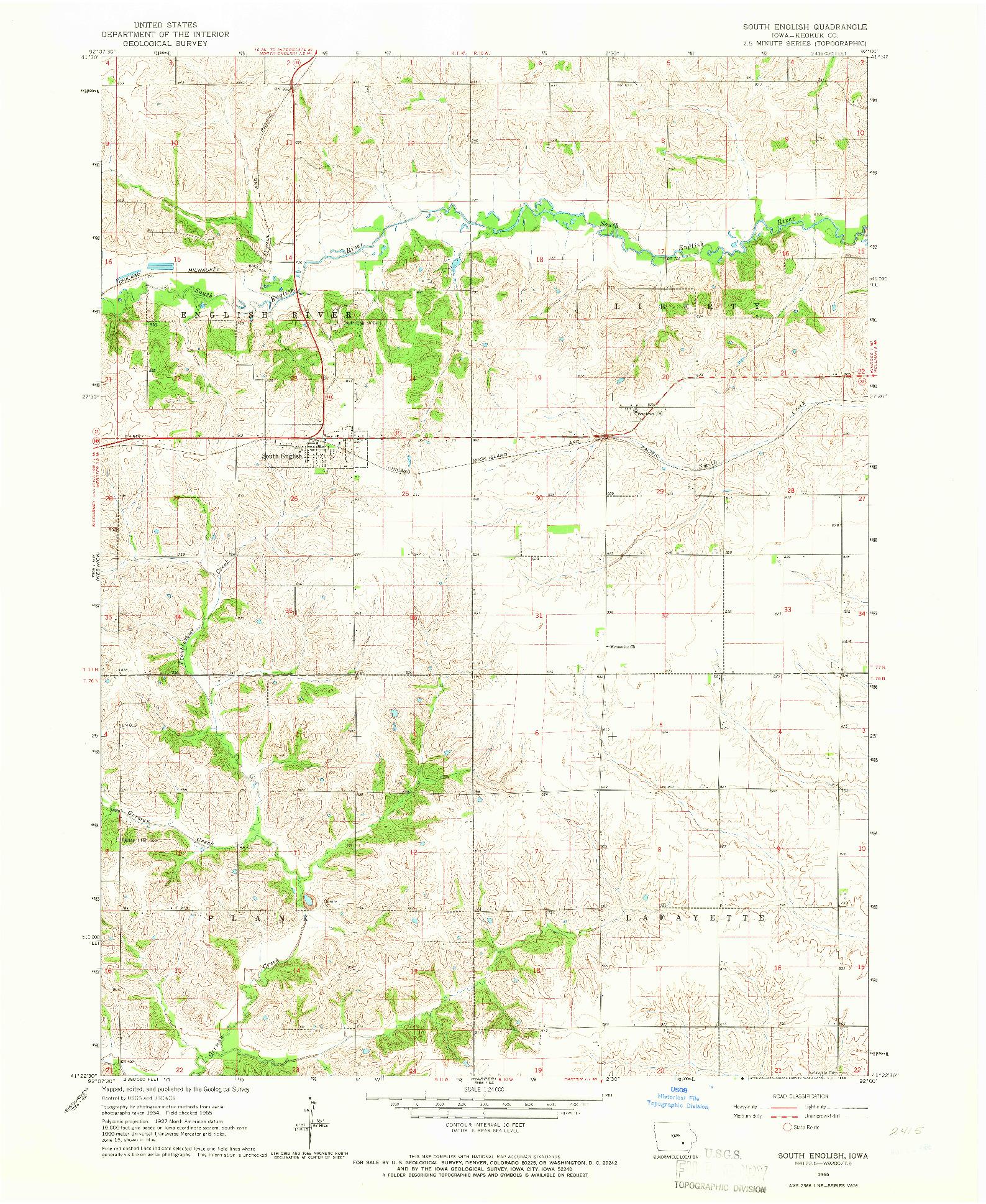 USGS 1:24000-SCALE QUADRANGLE FOR SOUTH ENGLISH, IA 1965