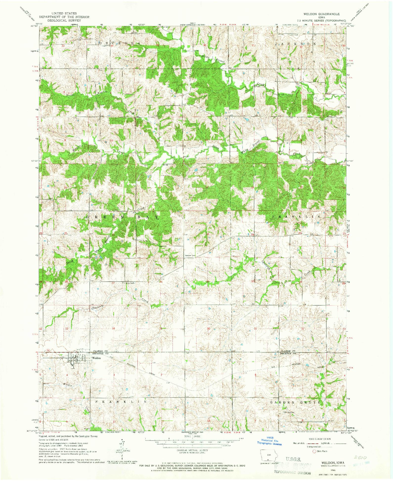 USGS 1:24000-SCALE QUADRANGLE FOR WELDON, IA 1965