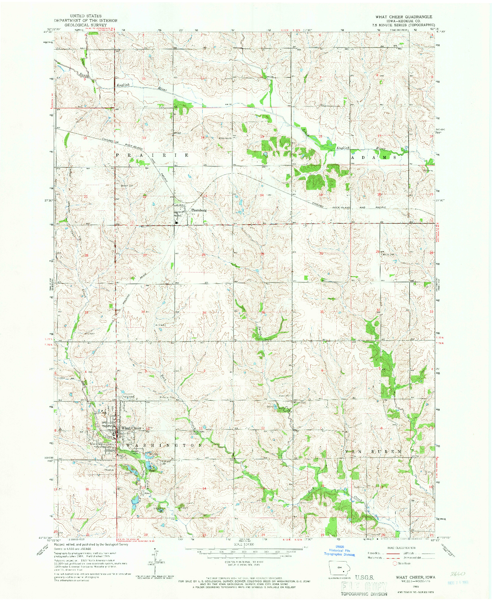 USGS 1:24000-SCALE QUADRANGLE FOR WHAT CHEER, IA 1965