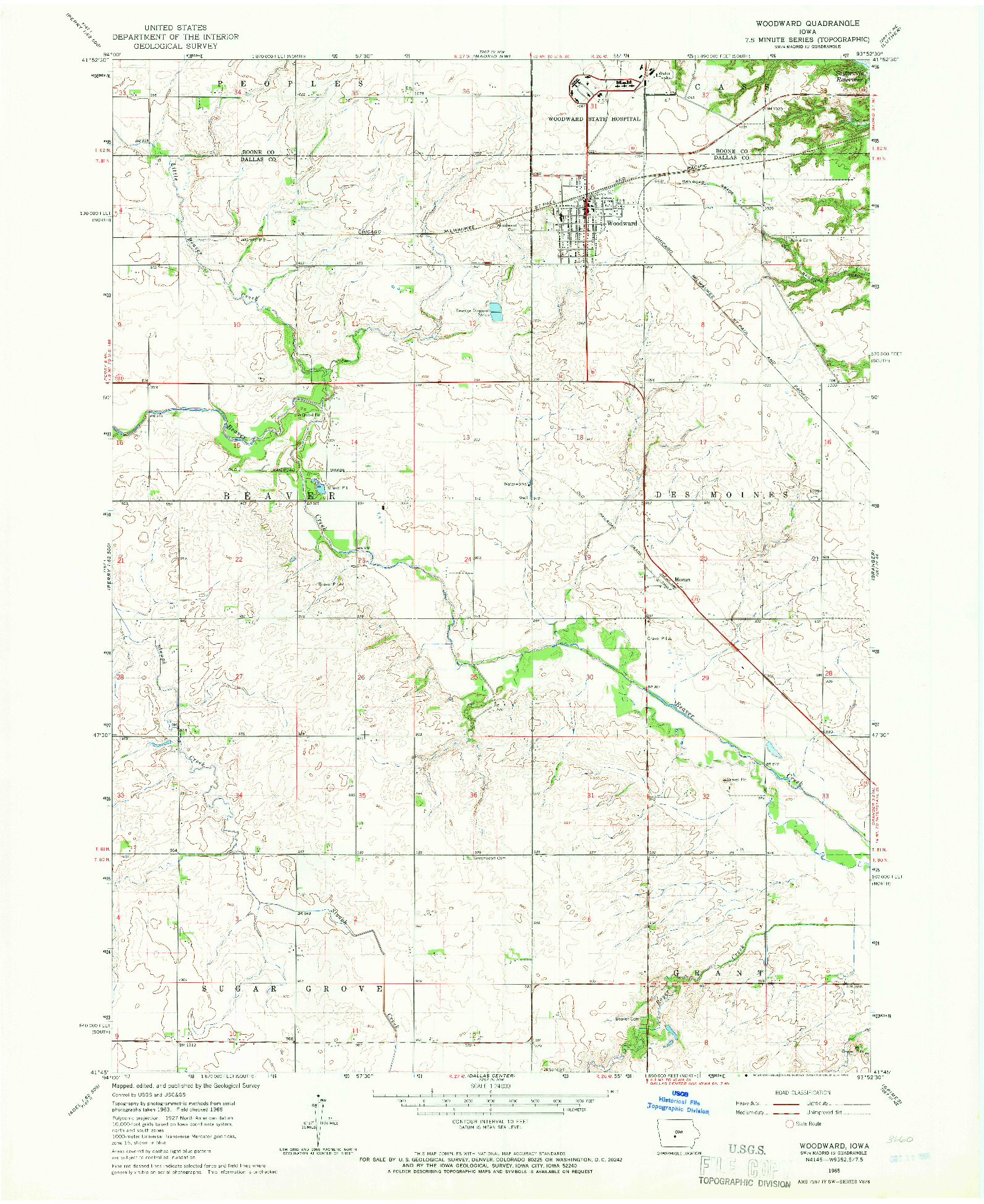 USGS 1:24000-SCALE QUADRANGLE FOR WOODWARD, IA 1965
