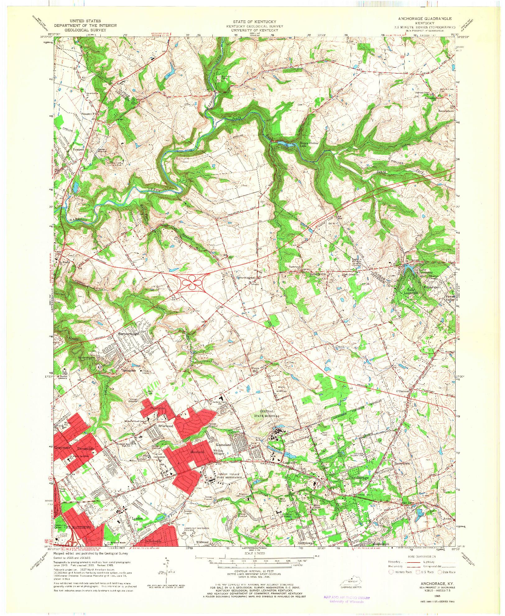 USGS 1:24000-SCALE QUADRANGLE FOR ANCHORAGE, KY 1965