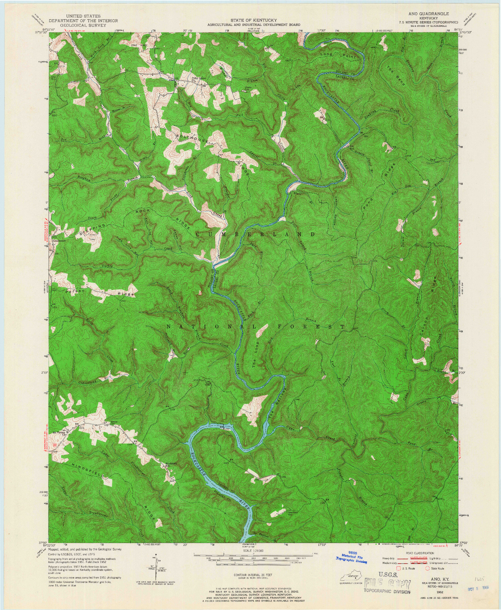 USGS 1:24000-SCALE QUADRANGLE FOR ANO, KY 1952