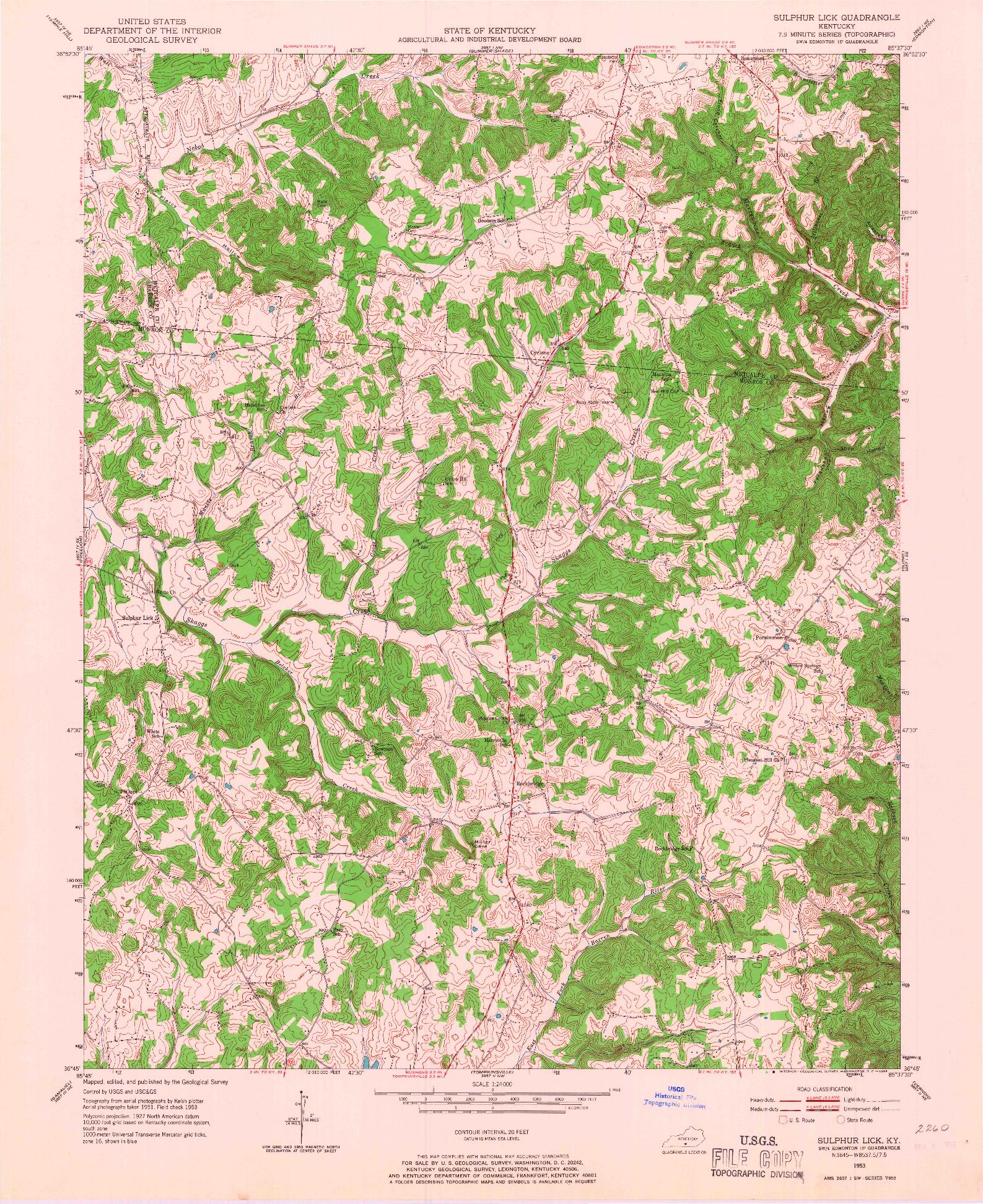 USGS 1:24000-SCALE QUADRANGLE FOR SULPHUR LICK, KY 1953